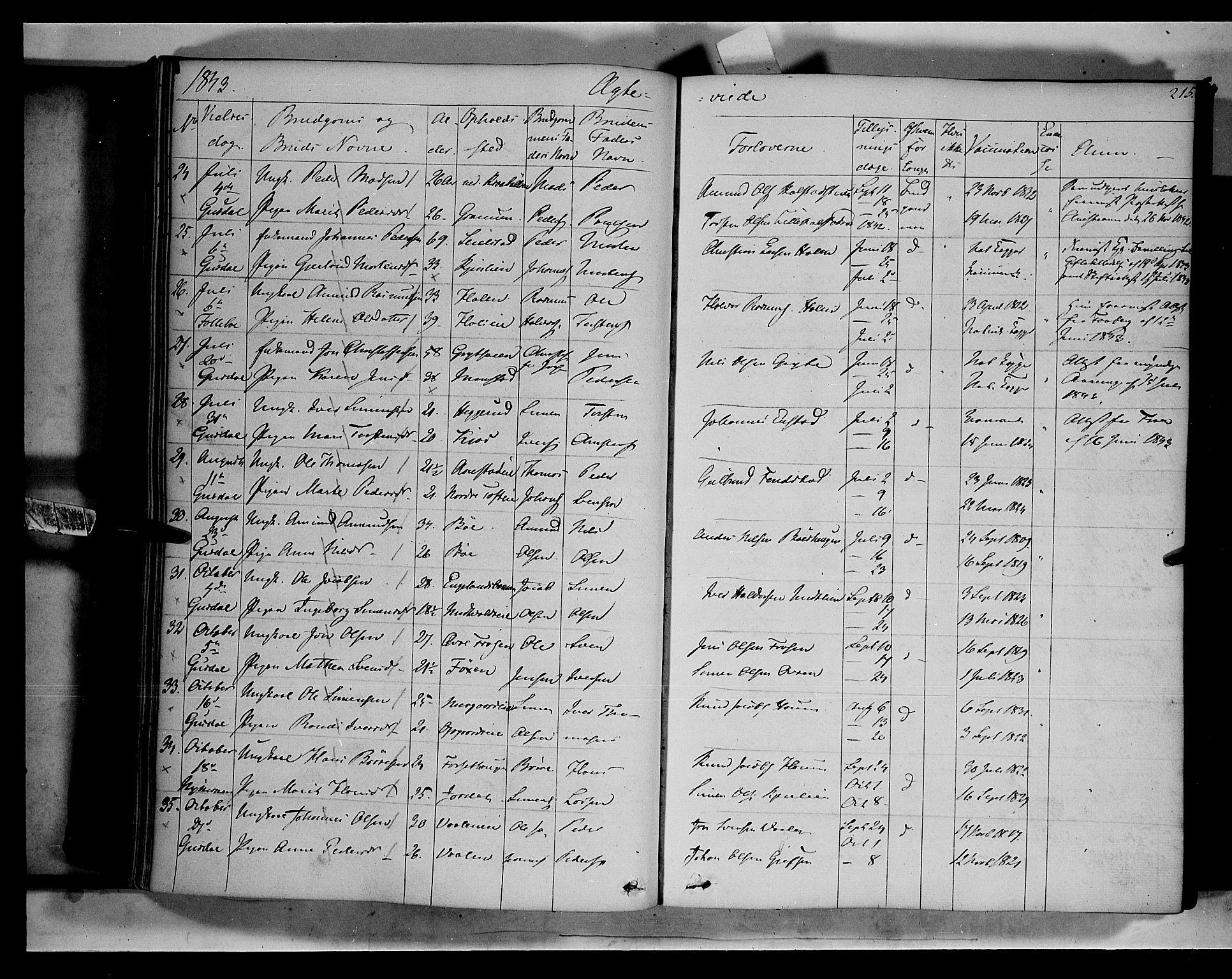 SAH, Gausdal prestekontor, Ministerialbok nr. 7, 1840-1850, s. 215