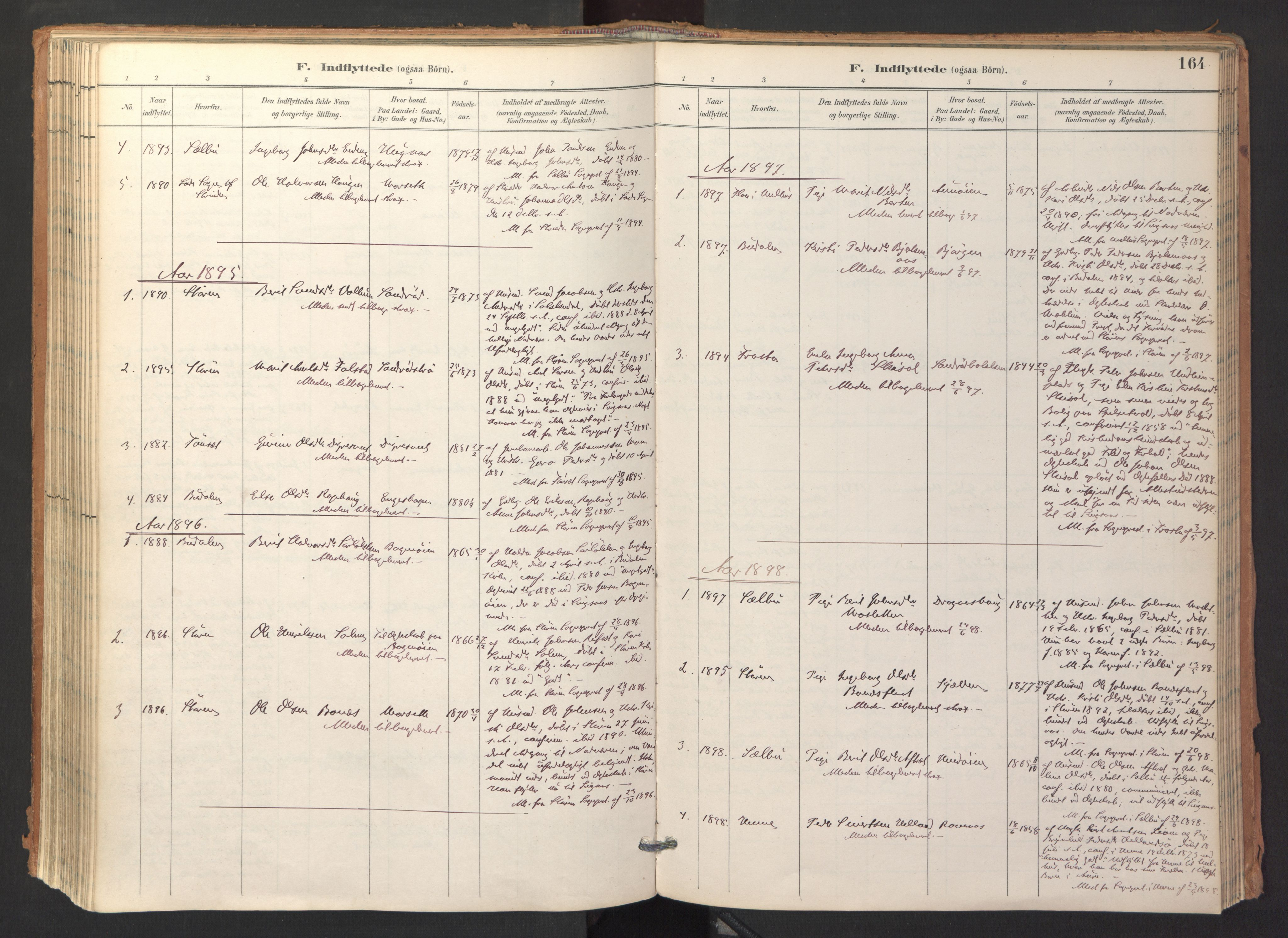 SAT, Ministerialprotokoller, klokkerbøker og fødselsregistre - Sør-Trøndelag, 688/L1025: Ministerialbok nr. 688A02, 1891-1909, s. 164