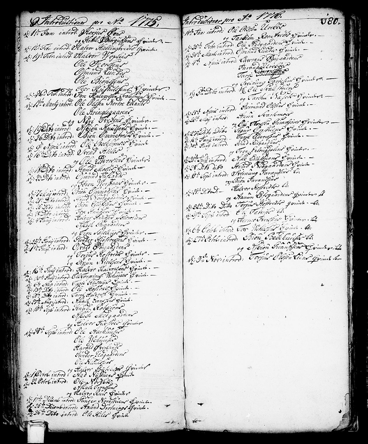 SAKO, Vinje kirkebøker, F/Fa/L0001: Ministerialbok nr. I 1, 1717-1766, s. 180