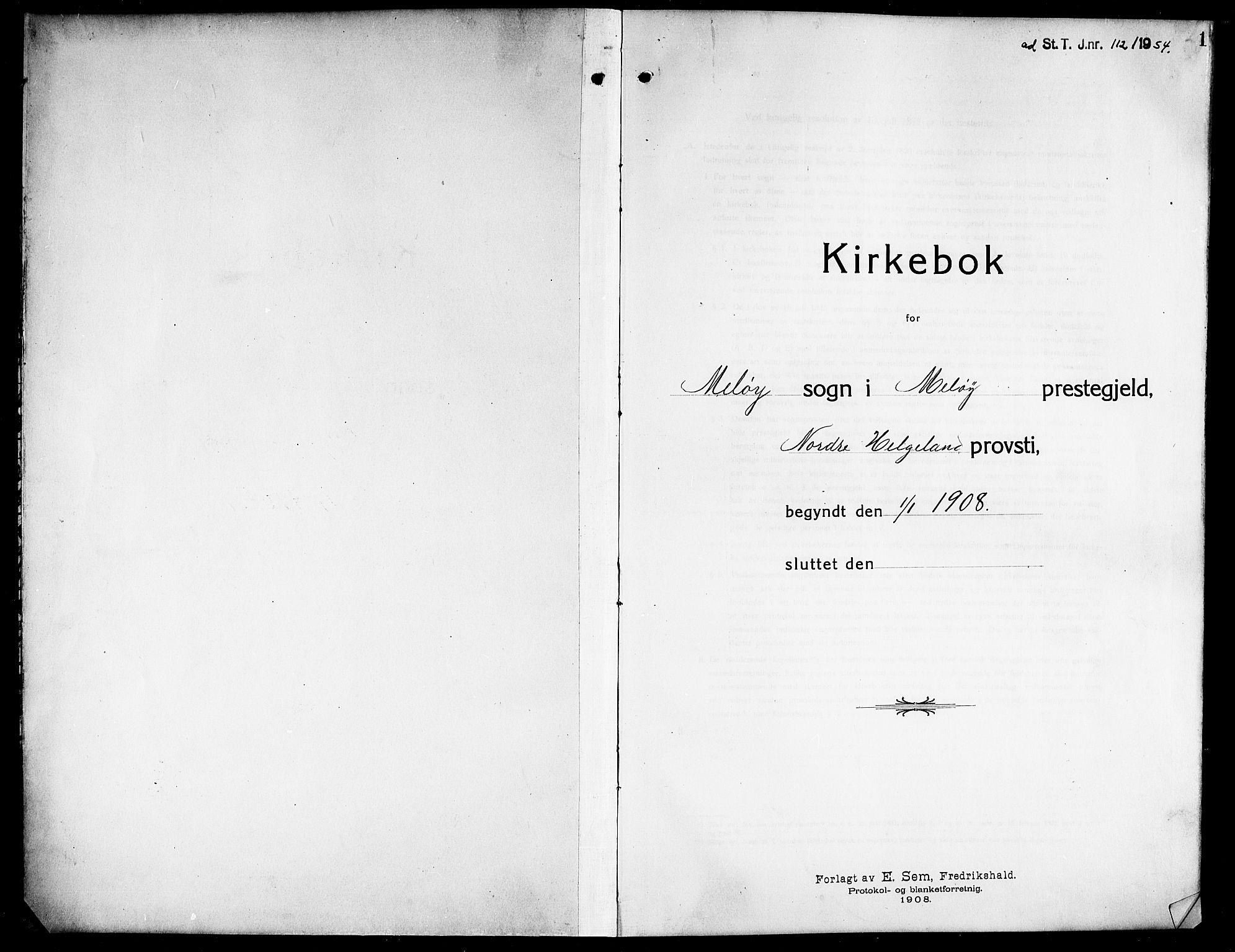 SAT, Ministerialprotokoller, klokkerbøker og fødselsregistre - Nordland, 843/L0639: Klokkerbok nr. 843C08, 1908-1924, s. 1
