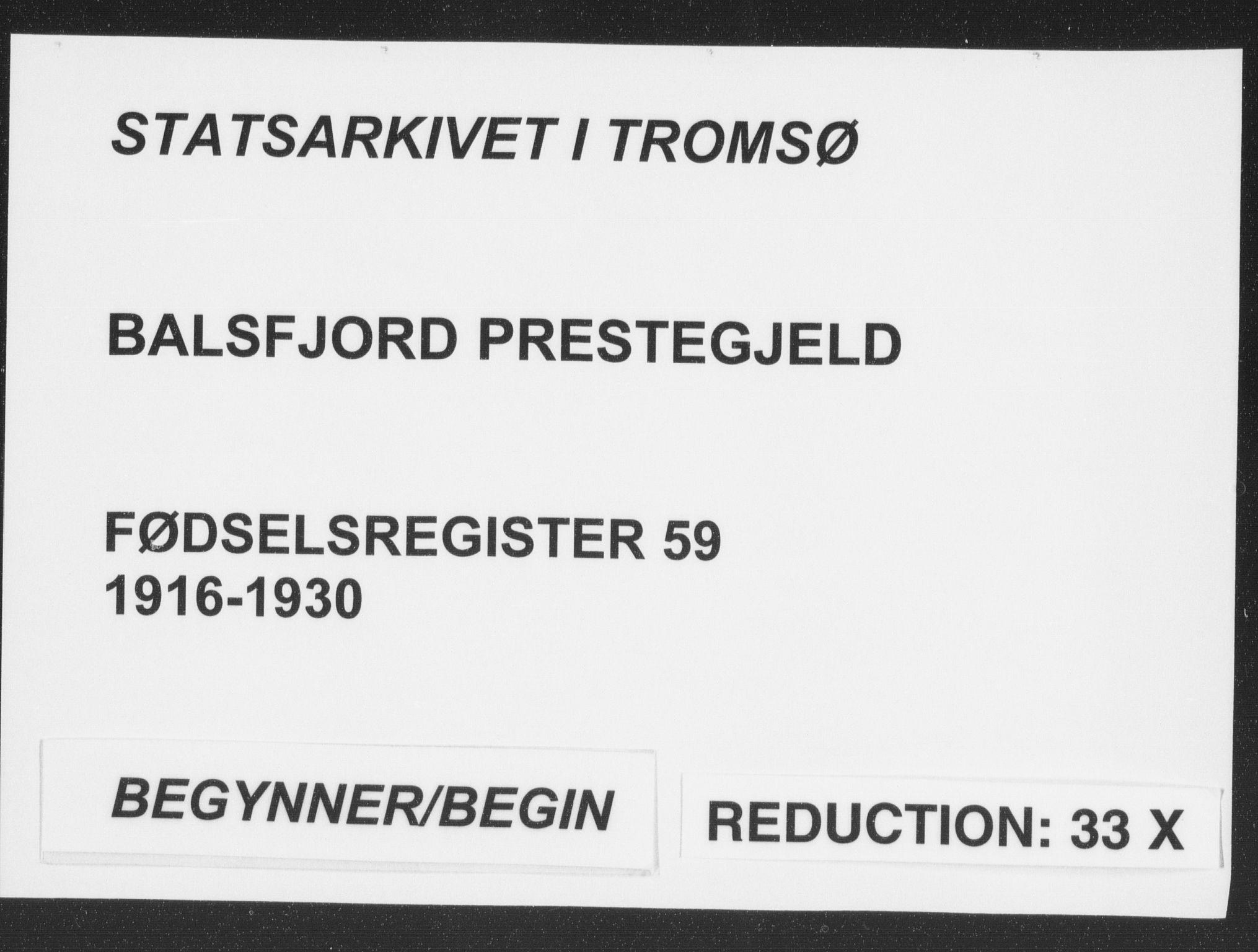 SATØ, Balsfjord sokneprestembete, Fødselsregister nr. 59, 1916-1930