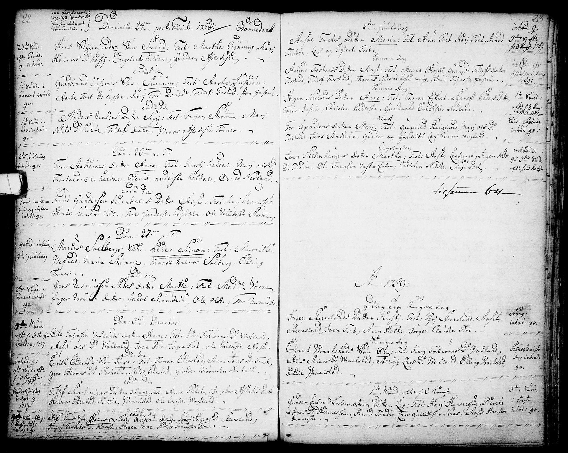 SAKO, Drangedal kirkebøker, F/Fa/L0001: Ministerialbok nr. 1, 1697-1767, s. 22-23