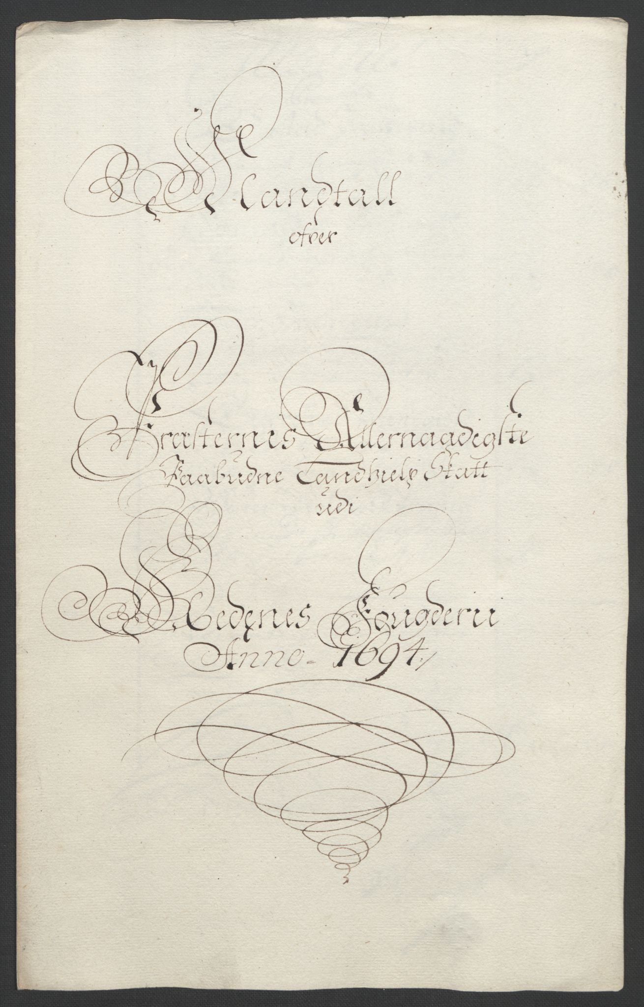 RA, Rentekammeret inntil 1814, Reviderte regnskaper, Fogderegnskap, R39/L2312: Fogderegnskap Nedenes, 1693-1695, s. 180