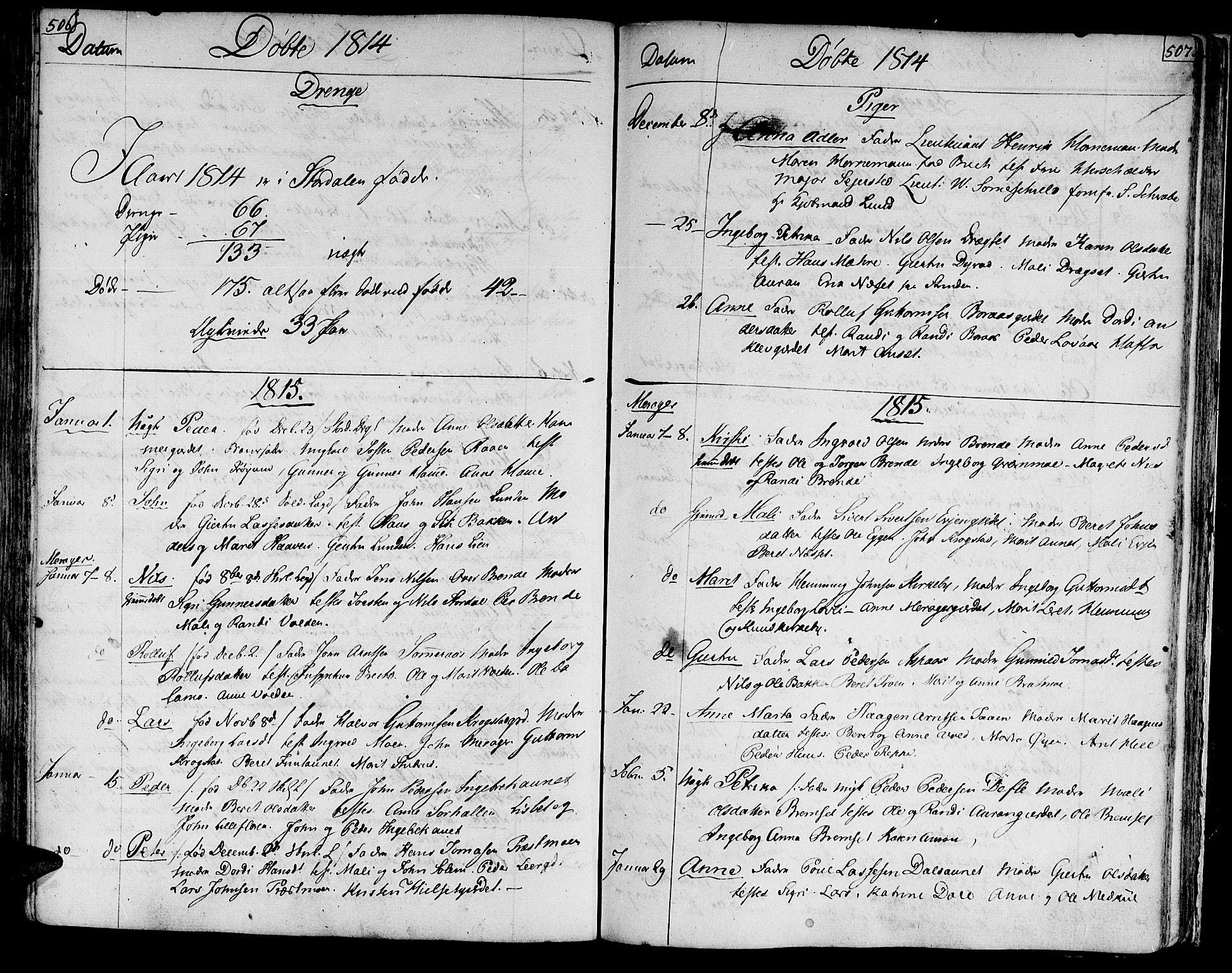 SAT, Ministerialprotokoller, klokkerbøker og fødselsregistre - Nord-Trøndelag, 709/L0060: Ministerialbok nr. 709A07, 1797-1815, s. 506-507