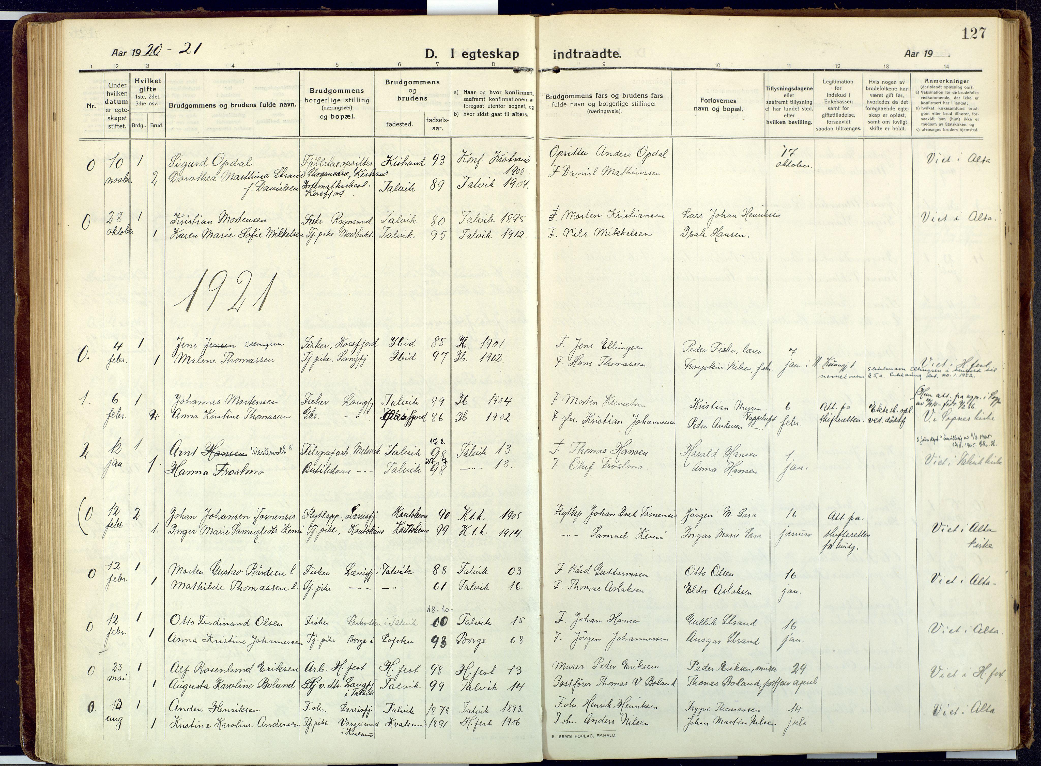 SATØ, Talvik sokneprestkontor, H/Ha/L0018kirke: Ministerialbok nr. 18, 1915-1924, s. 127