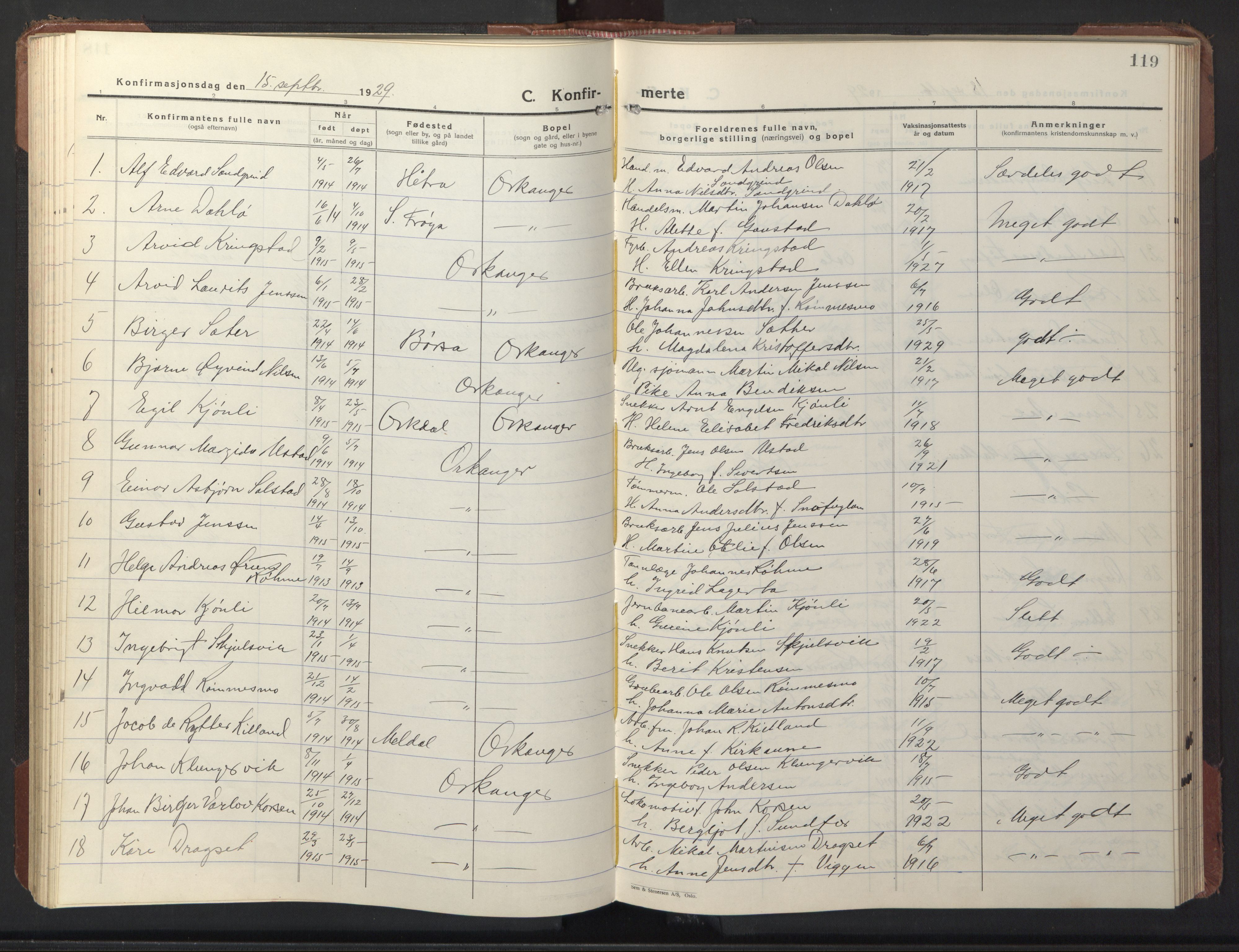 SAT, Ministerialprotokoller, klokkerbøker og fødselsregistre - Sør-Trøndelag, 669/L0832: Klokkerbok nr. 669C02, 1925-1953, s. 119