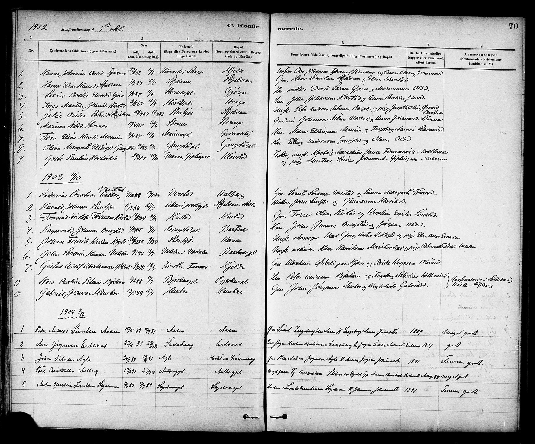 SAT, Ministerialprotokoller, klokkerbøker og fødselsregistre - Nord-Trøndelag, 732/L0318: Klokkerbok nr. 732C02, 1881-1911, s. 70