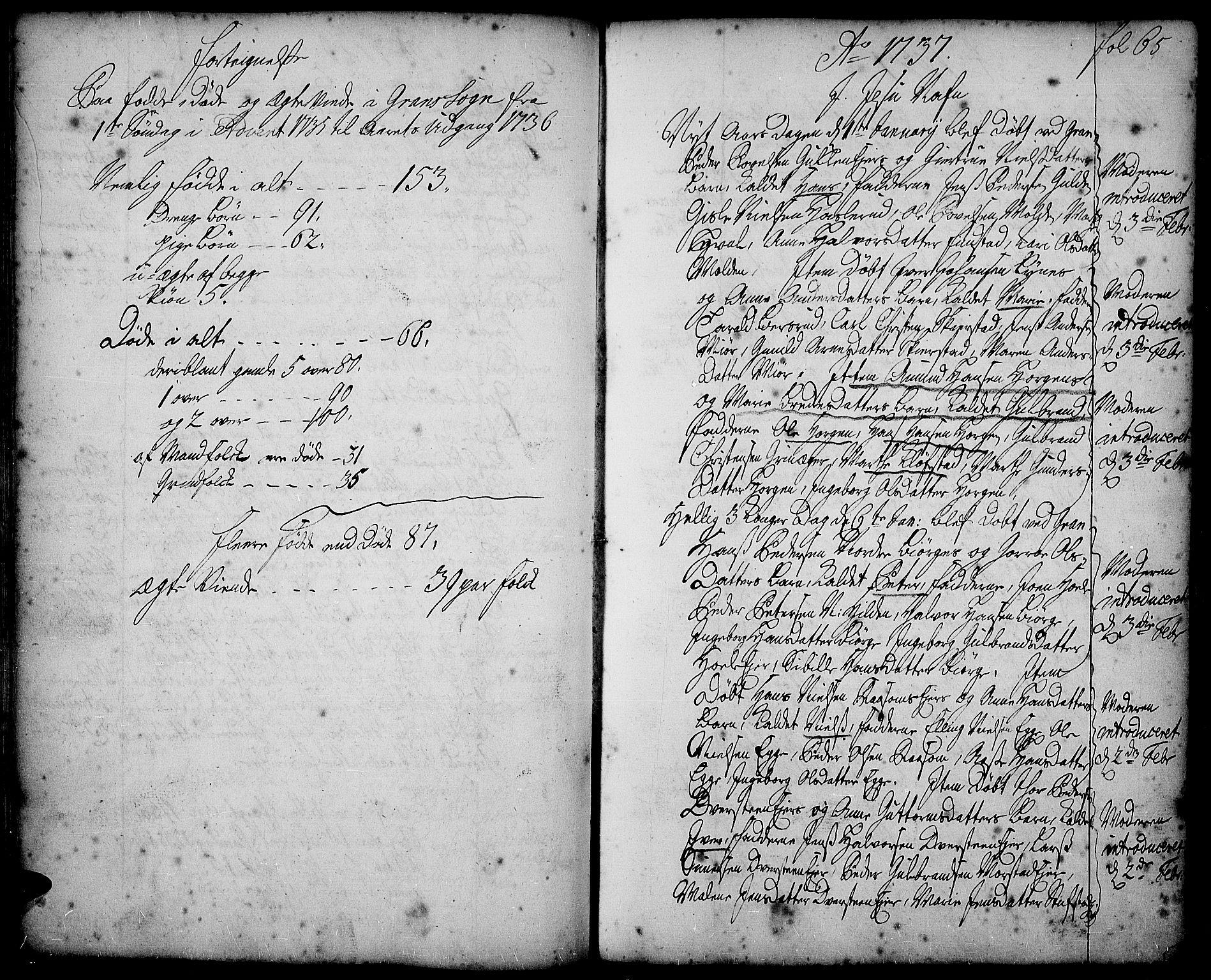 SAH, Gran prestekontor, Ministerialbok nr. 2, 1732-1744, s. 65