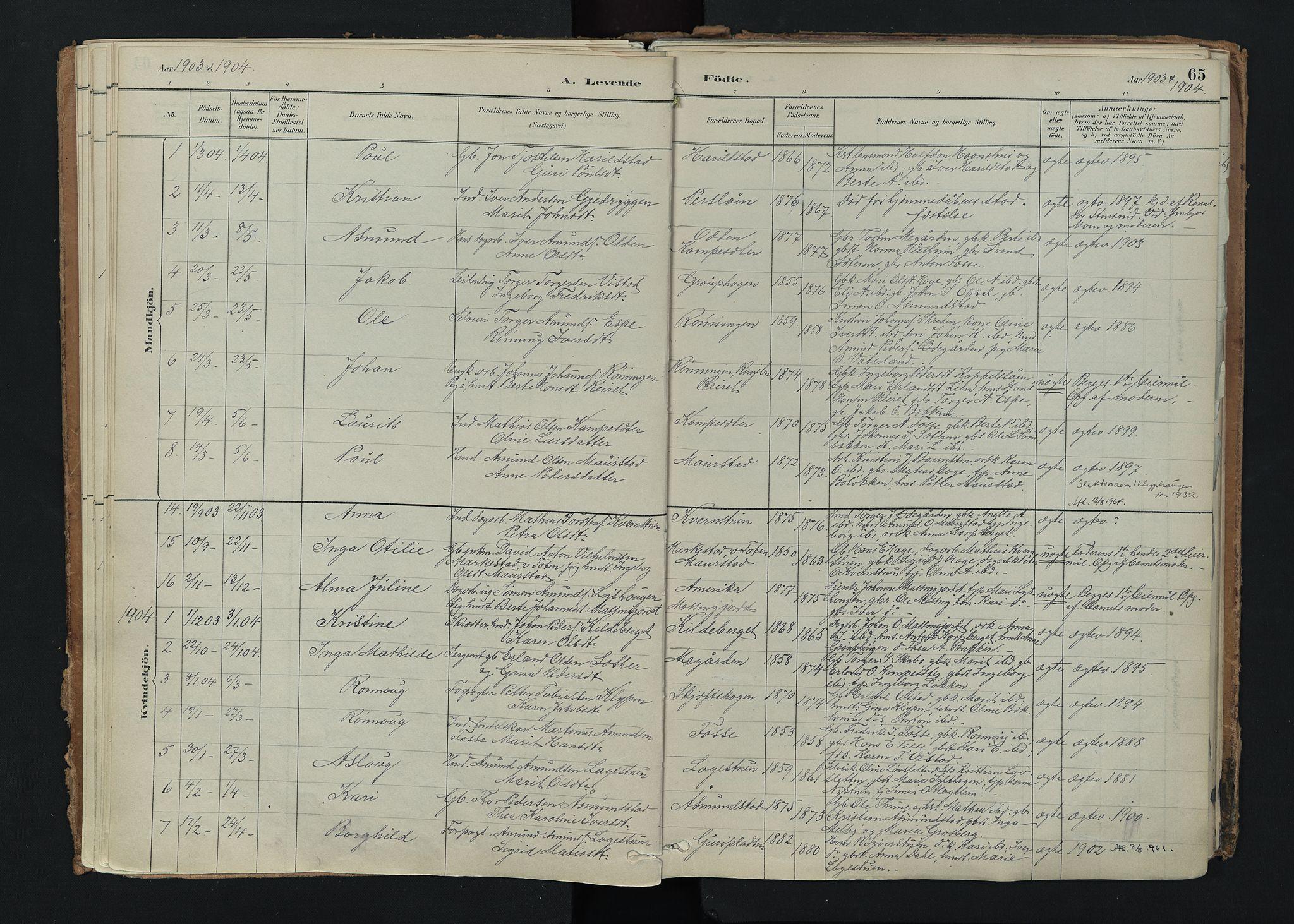 SAH, Nord-Fron prestekontor, Ministerialbok nr. 5, 1884-1914, s. 65