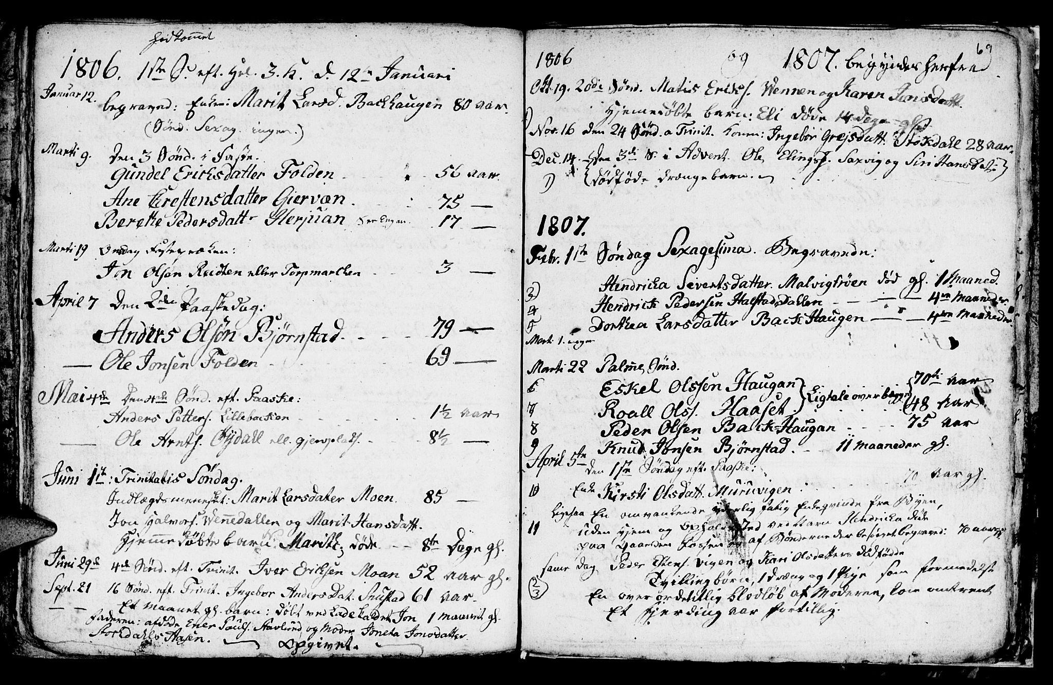 SAT, Ministerialprotokoller, klokkerbøker og fødselsregistre - Sør-Trøndelag, 616/L0419: Klokkerbok nr. 616C02, 1797-1816, s. 69