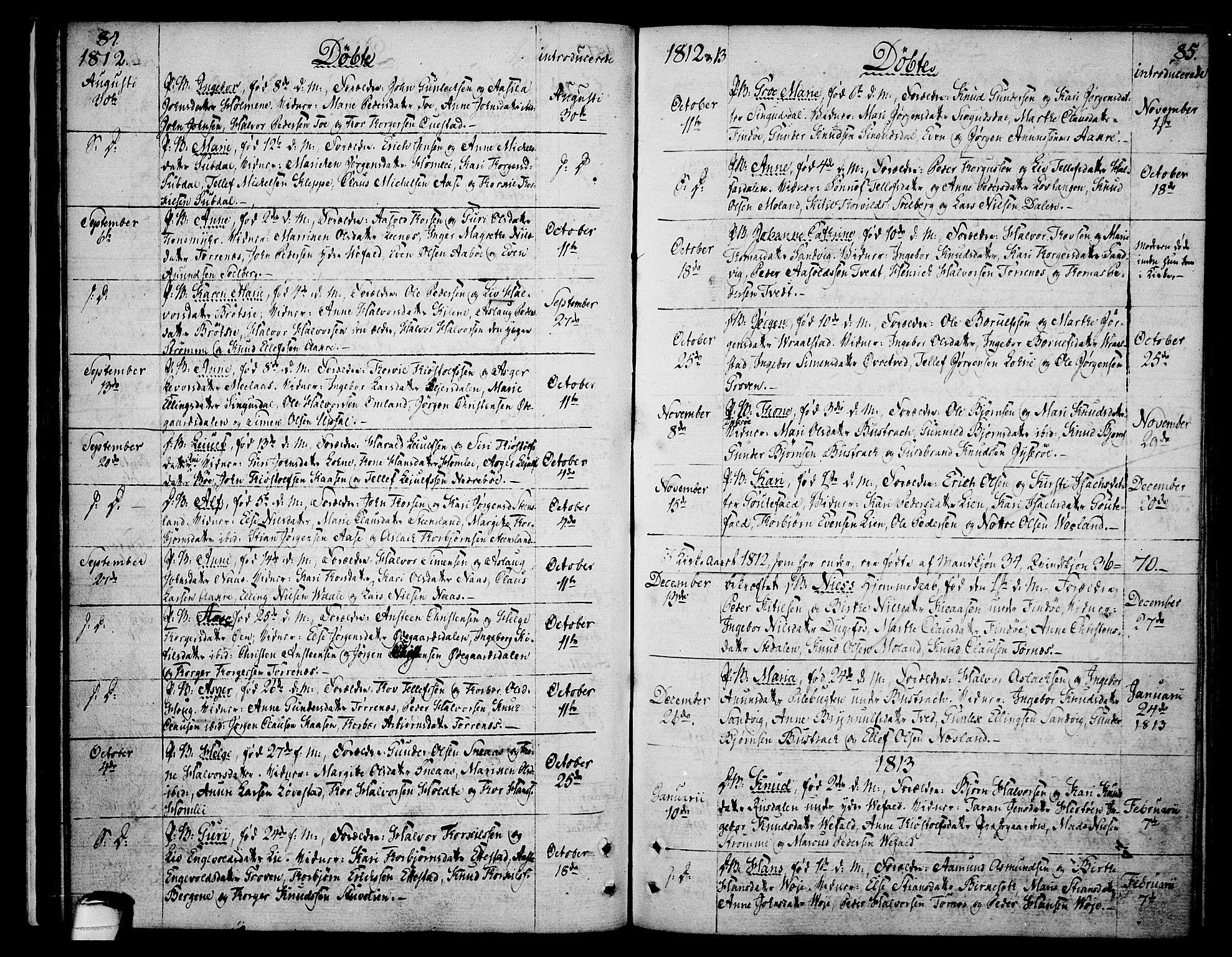 SAKO, Drangedal kirkebøker, F/Fa/L0004: Ministerialbok nr. 4, 1802-1814, s. 84-85