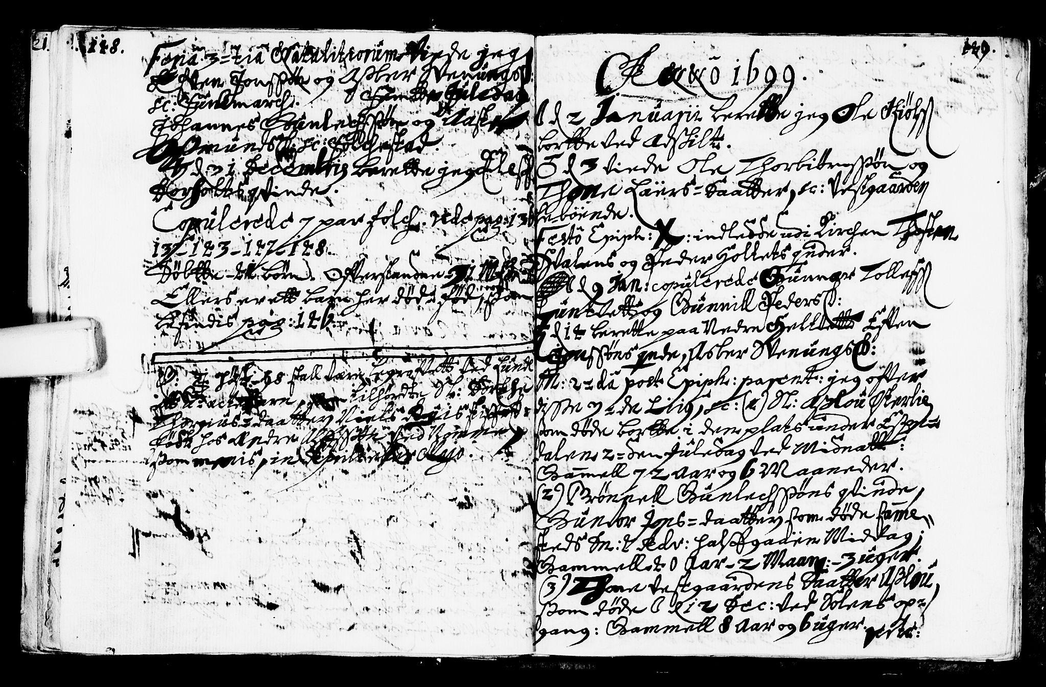 SAKO, Bø kirkebøker, F/Fa/L0001: Ministerialbok nr. 1, 1689-1699, s. 148-149
