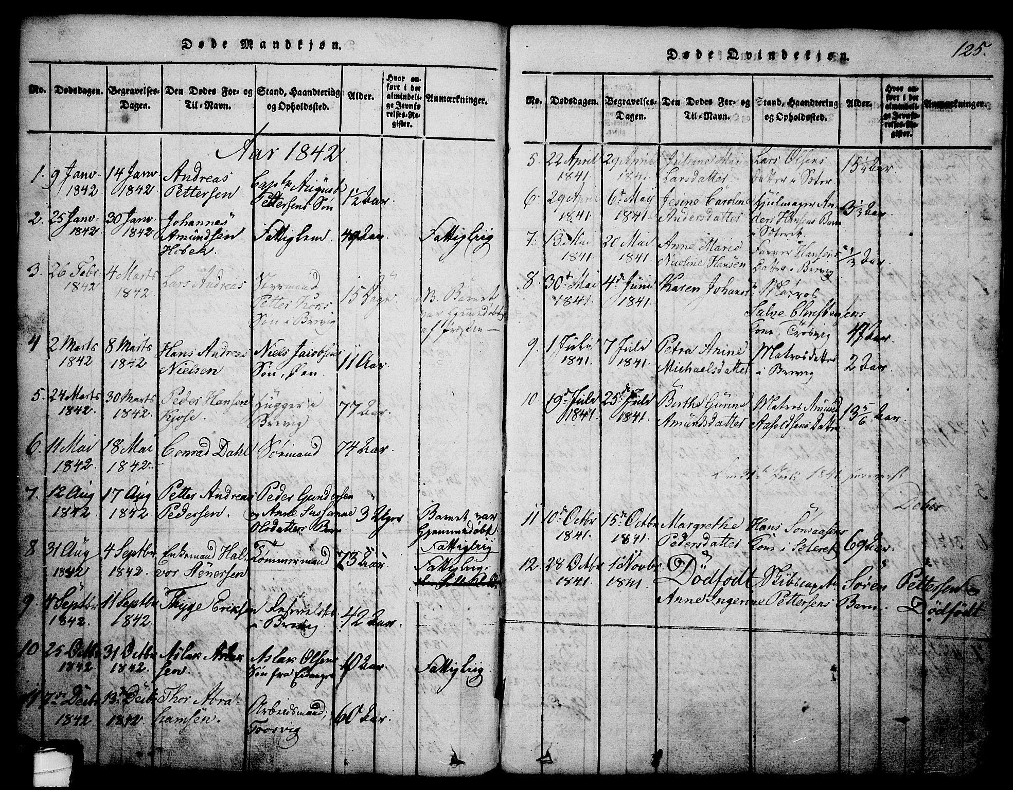 SAKO, Brevik kirkebøker, G/Ga/L0001: Klokkerbok nr. 1, 1814-1845, s. 125