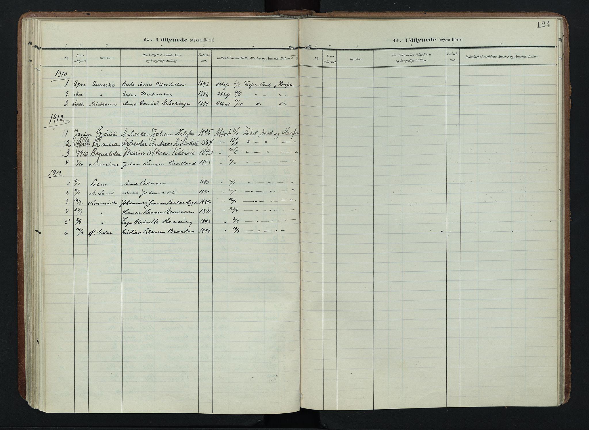 SAH, Søndre Land prestekontor, K/L0005: Ministerialbok nr. 5, 1905-1914, s. 124