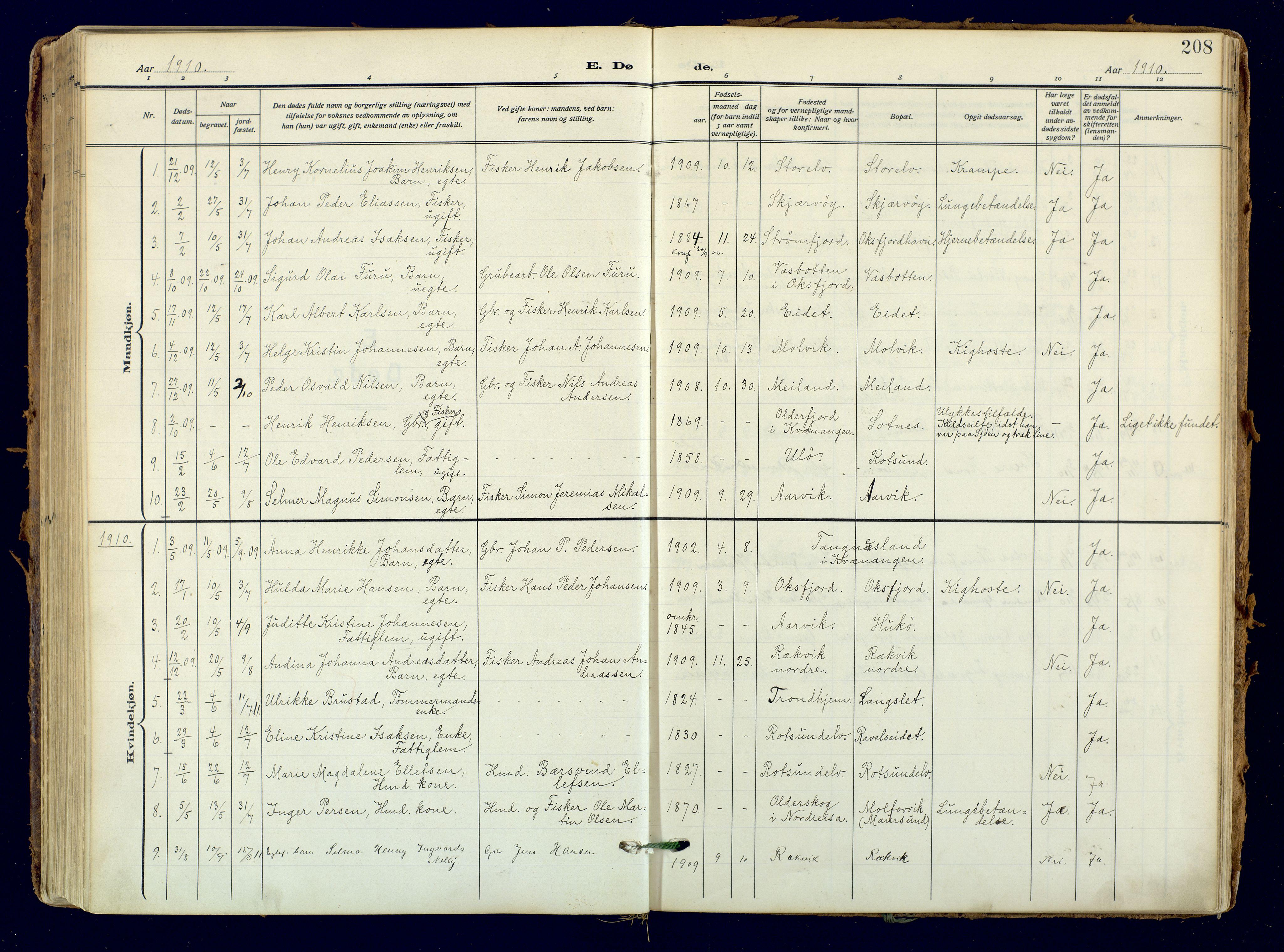 SATØ, Skjervøy sokneprestkontor, H/Ha/Haa: Ministerialbok nr. 18, 1910-1926, s. 208