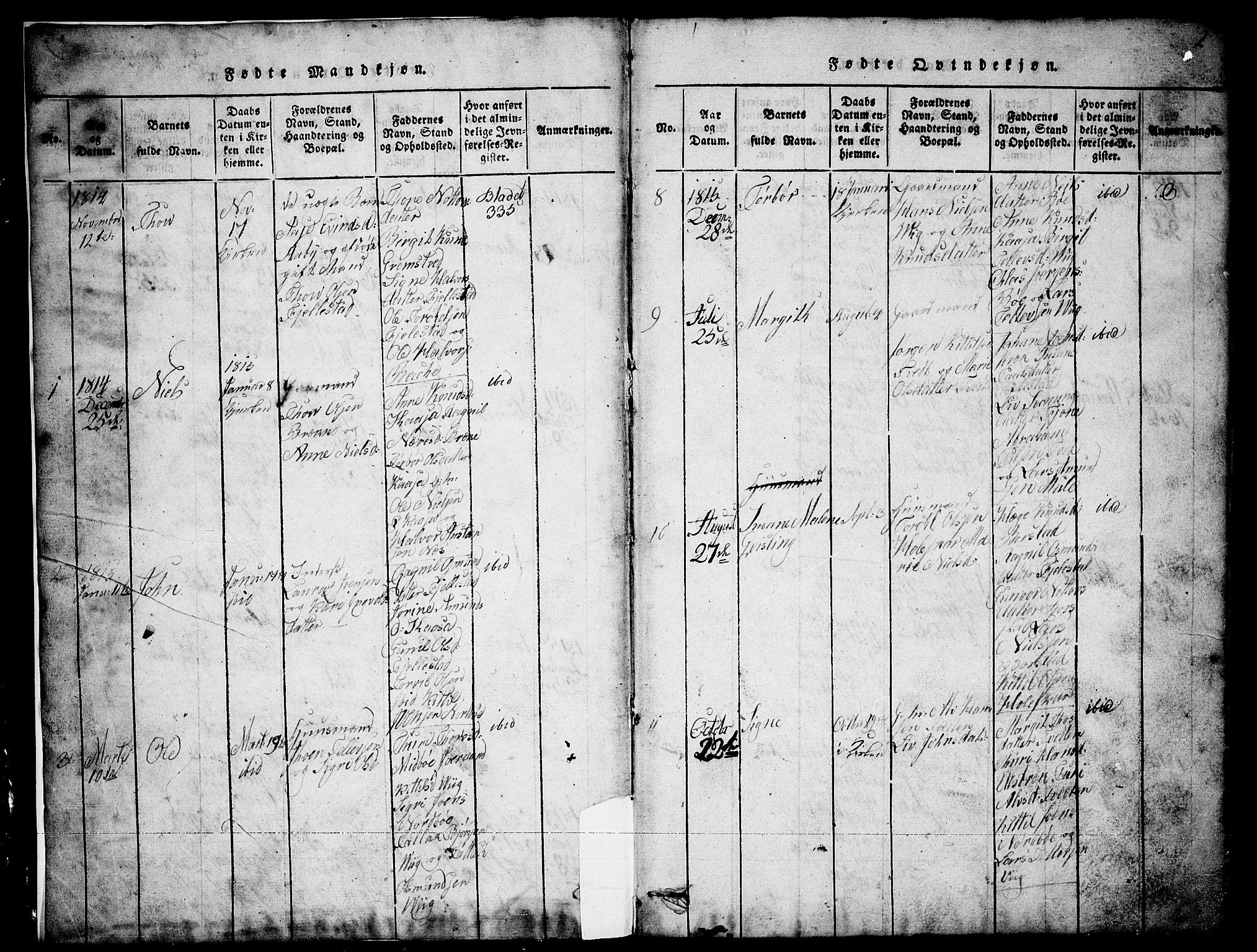 SAKO, Nissedal kirkebøker, G/Ga/L0001: Klokkerbok nr. I 1, 1814-1860, s. 2