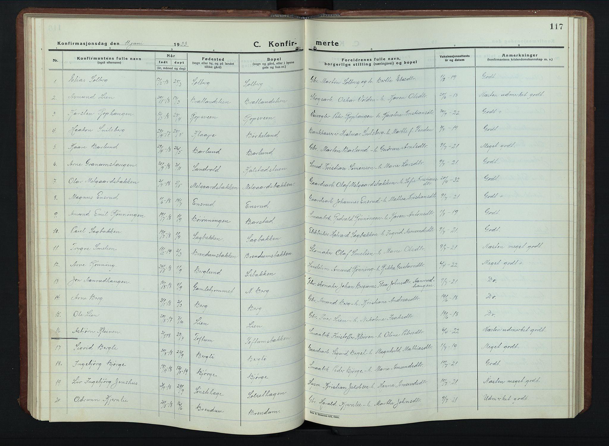 SAH, Vestre Gausdal prestekontor, Klokkerbok nr. 5, 1926-1955, s. 117