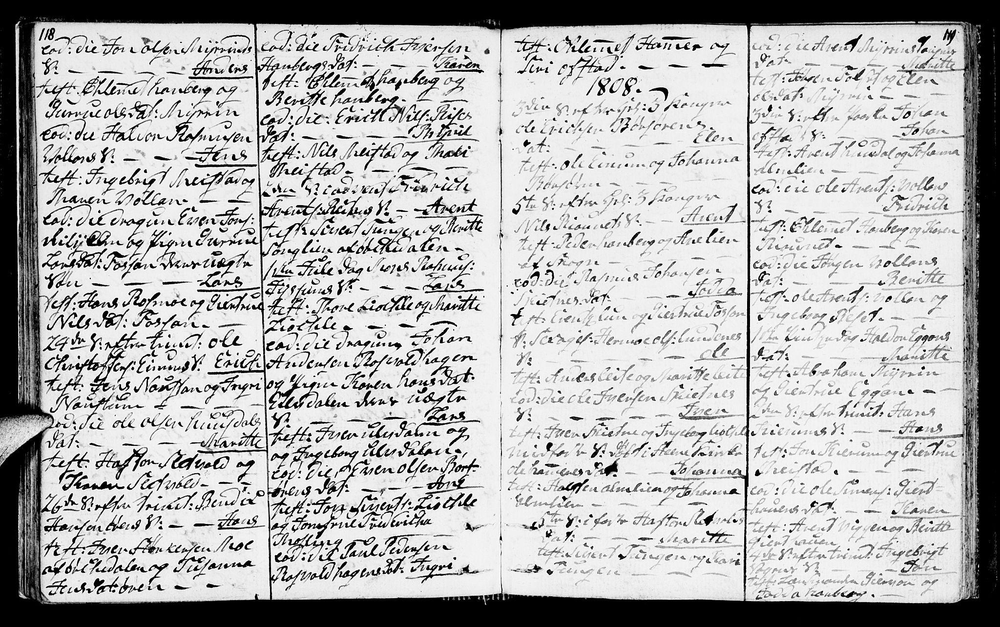SAT, Ministerialprotokoller, klokkerbøker og fødselsregistre - Sør-Trøndelag, 665/L0769: Ministerialbok nr. 665A04, 1803-1816, s. 118-119
