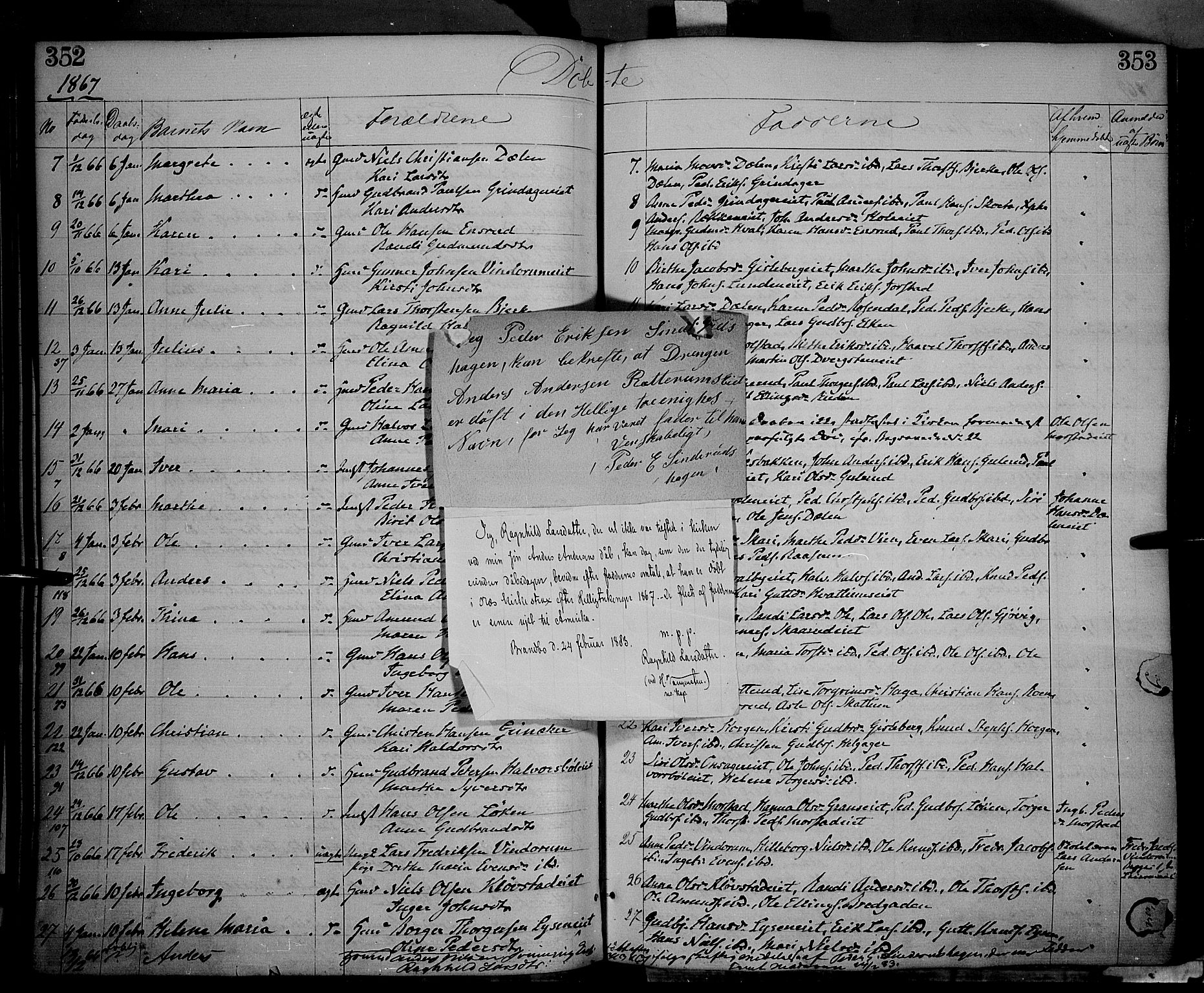 SAH, Gran prestekontor, Ministerialbok nr. 12, 1856-1874, s. 352-353