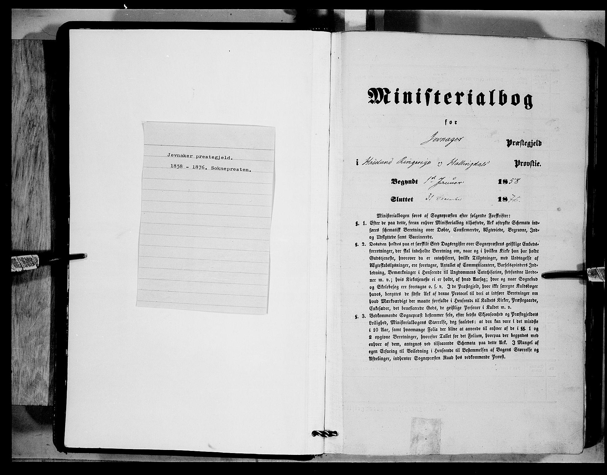 SAH, Jevnaker prestekontor, Ministerialbok nr. 7, 1858-1876