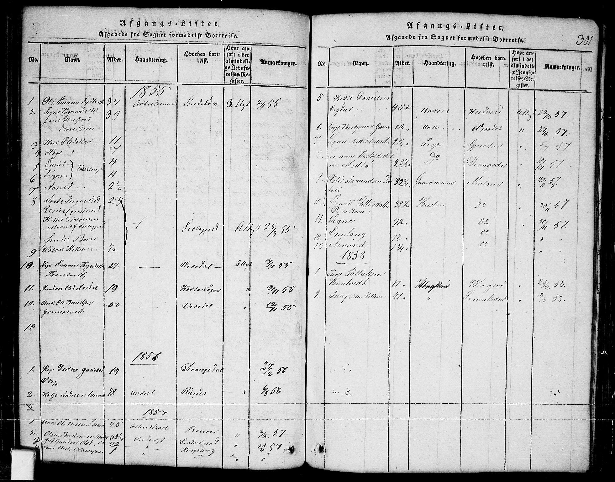 SAKO, Nissedal kirkebøker, G/Ga/L0001: Klokkerbok nr. I 1, 1814-1860, s. 301