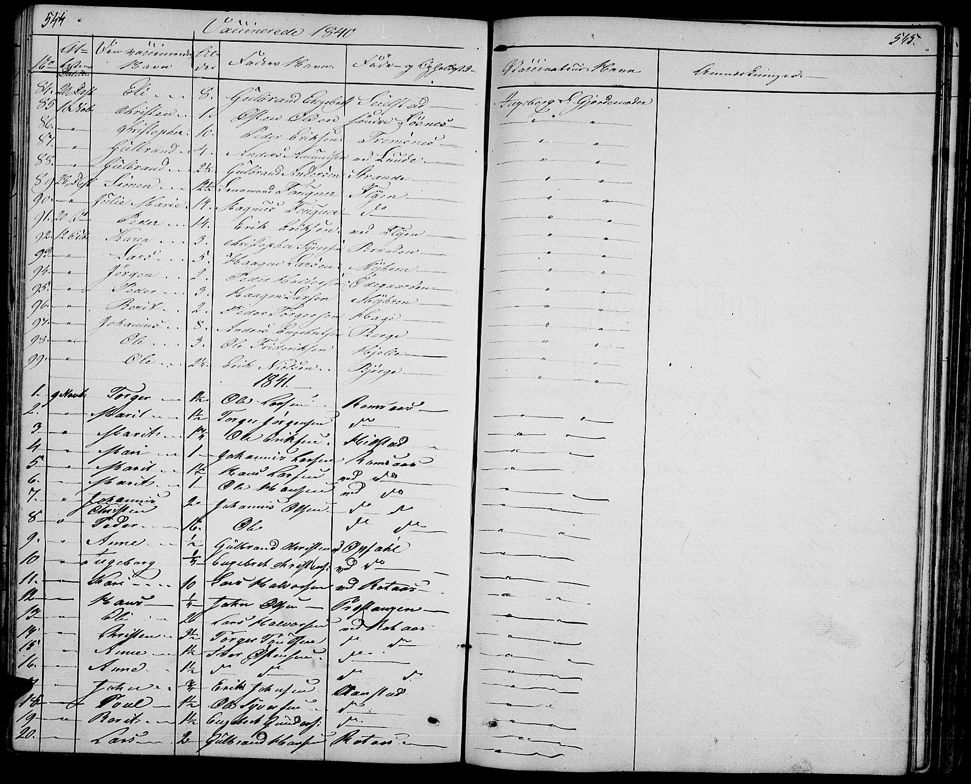 SAH, Ringebu prestekontor, Klokkerbok nr. 2, 1839-1853, s. 544-545