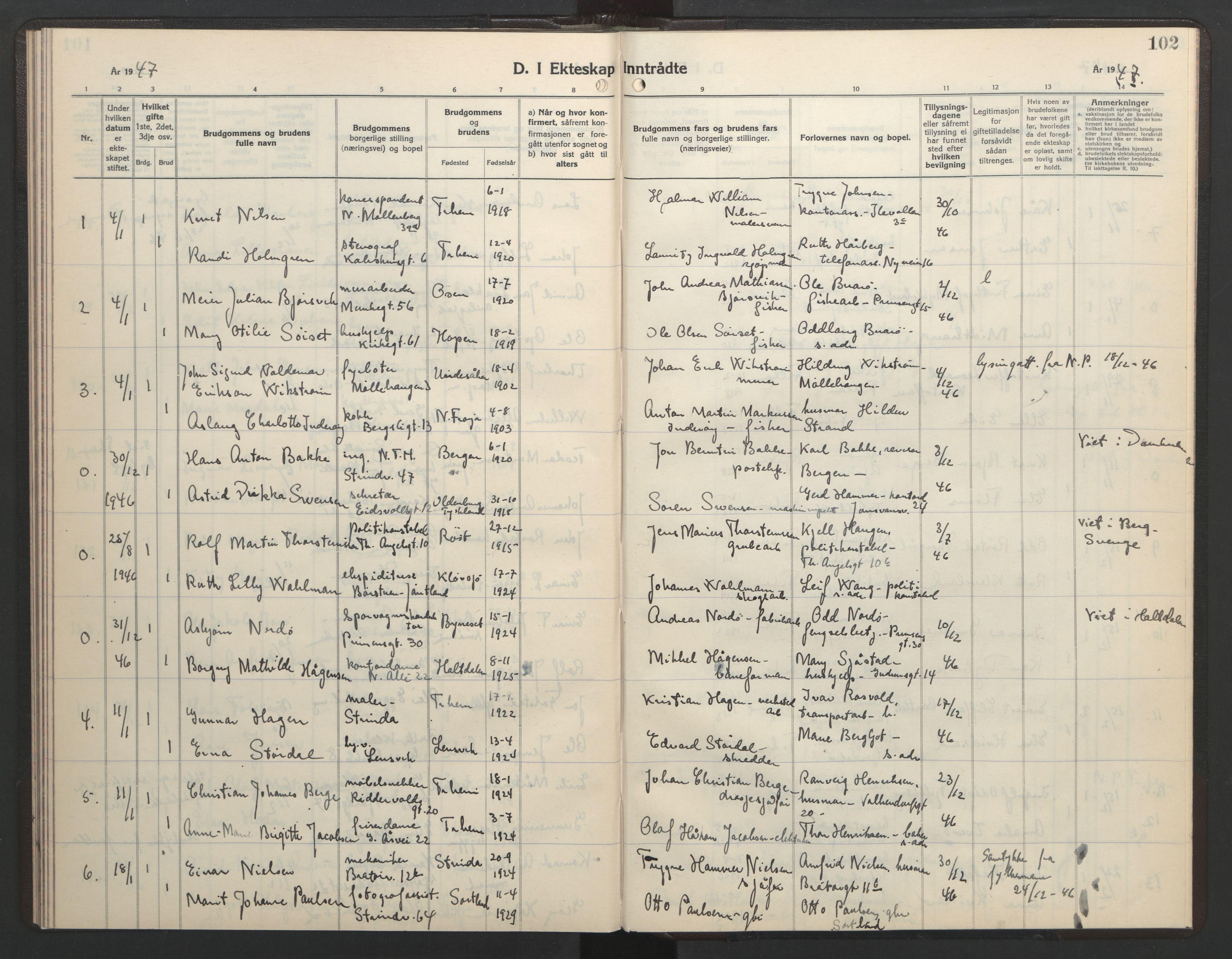 SAT, Ministerialprotokoller, klokkerbøker og fødselsregistre - Sør-Trøndelag, 602/L0154: Klokkerbok nr. 602C22, 1940-1947, s. 102