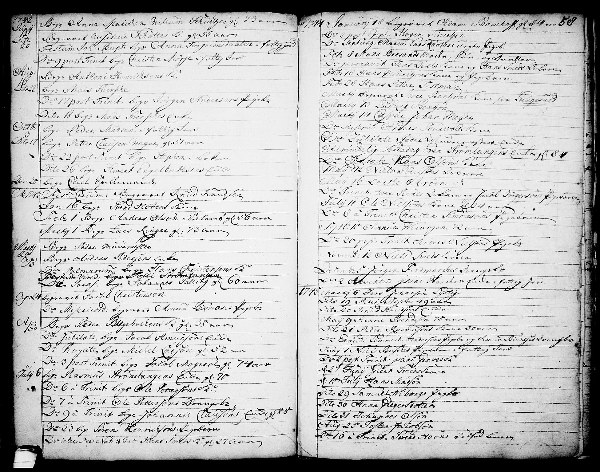 SAKO, Brevik kirkebøker, F/Fa/L0002: Ministerialbok nr. 2, 1720-1764, s. 58a