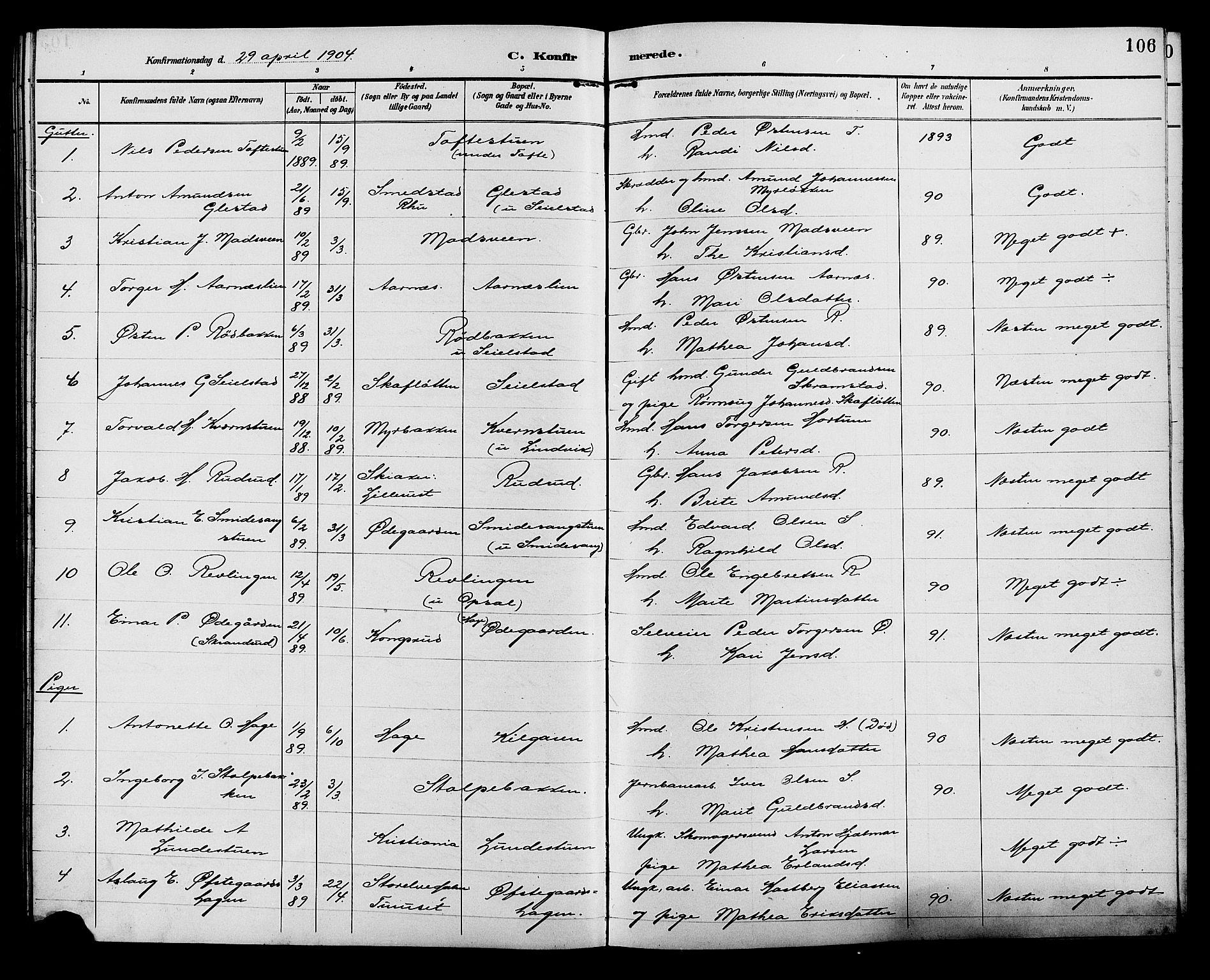 SAH, Ringebu prestekontor, Klokkerbok nr. 7, 1890-1910, s. 106