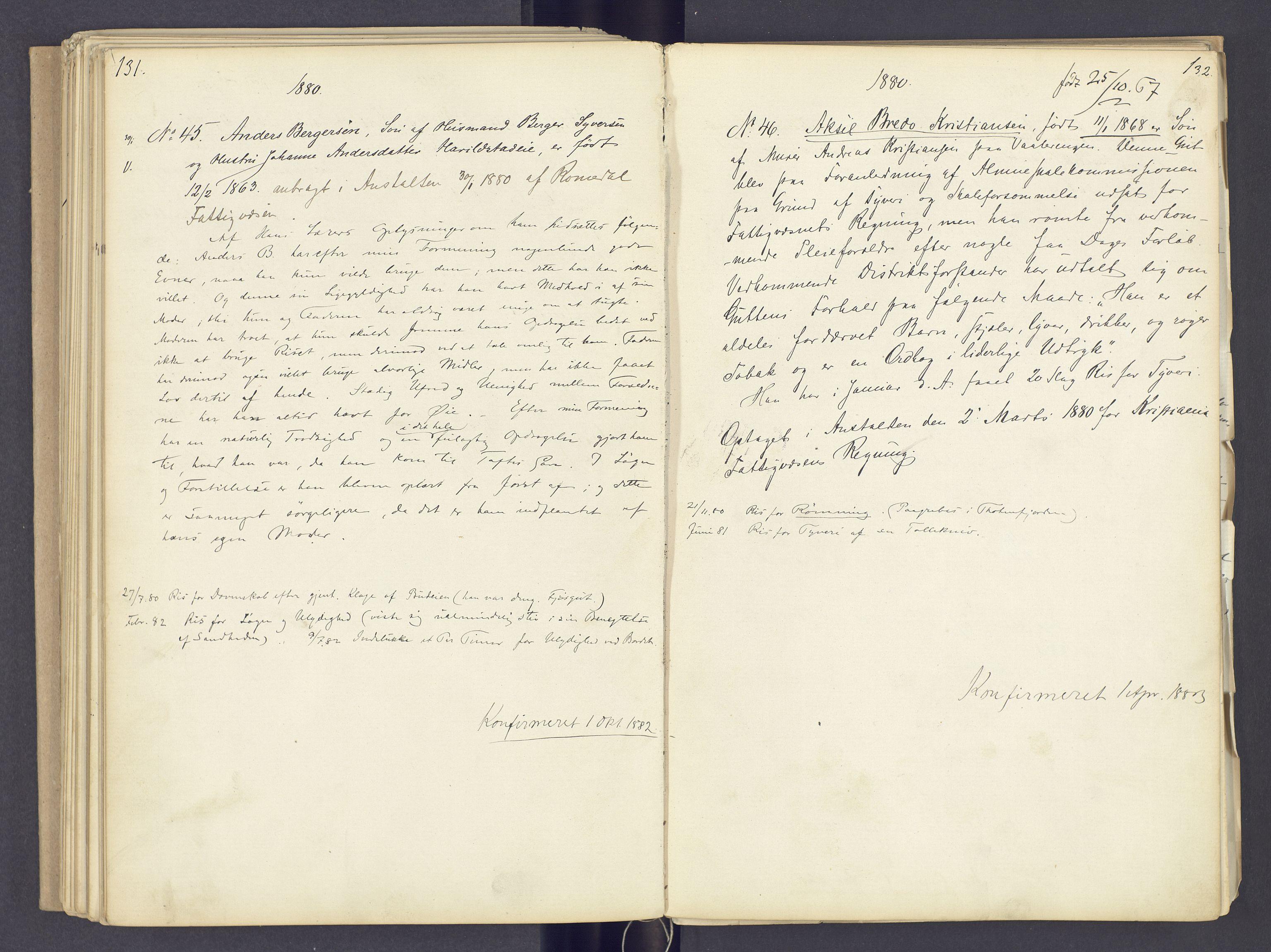 SAH, Toftes Gave, F/Fc/L0002: Elevprotokoll, 1870-1885, s. 131-132
