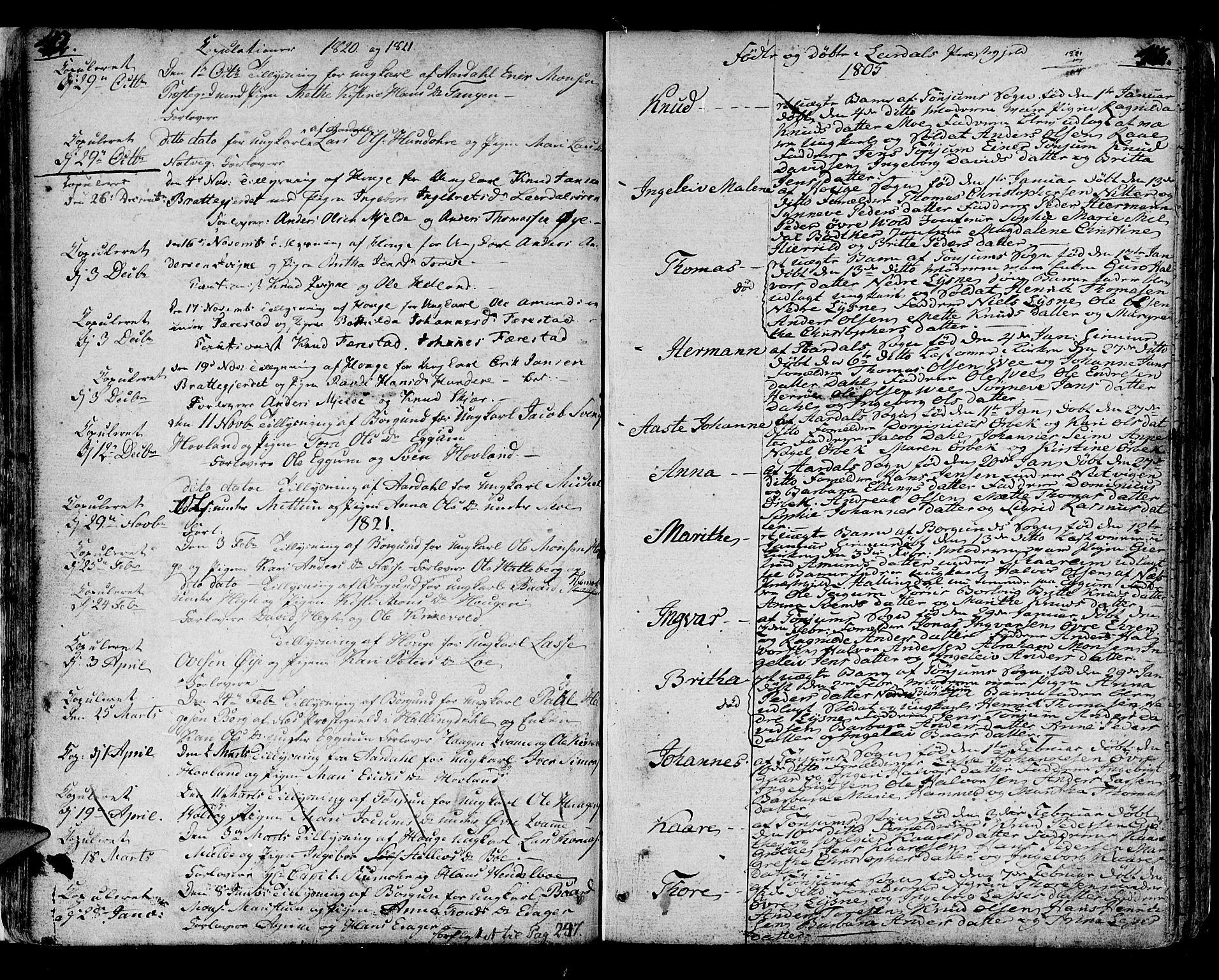 SAB, Lærdal sokneprestembete, Ministerialbok nr. A 4, 1805-1821, s. 42-43
