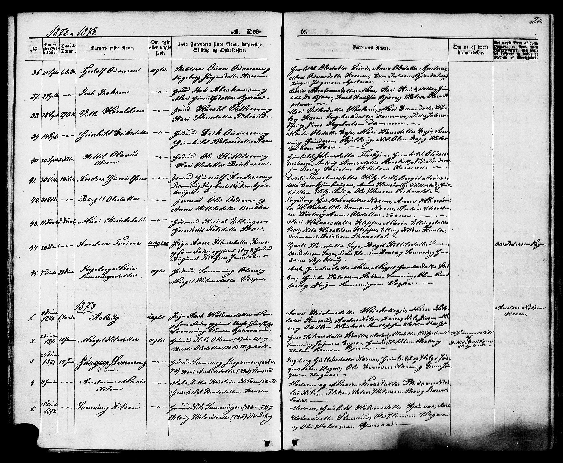 SAKO, Lunde kirkebøker, F/Fa/L0001: Ministerialbok nr. I 1, 1866-1883, s. 20