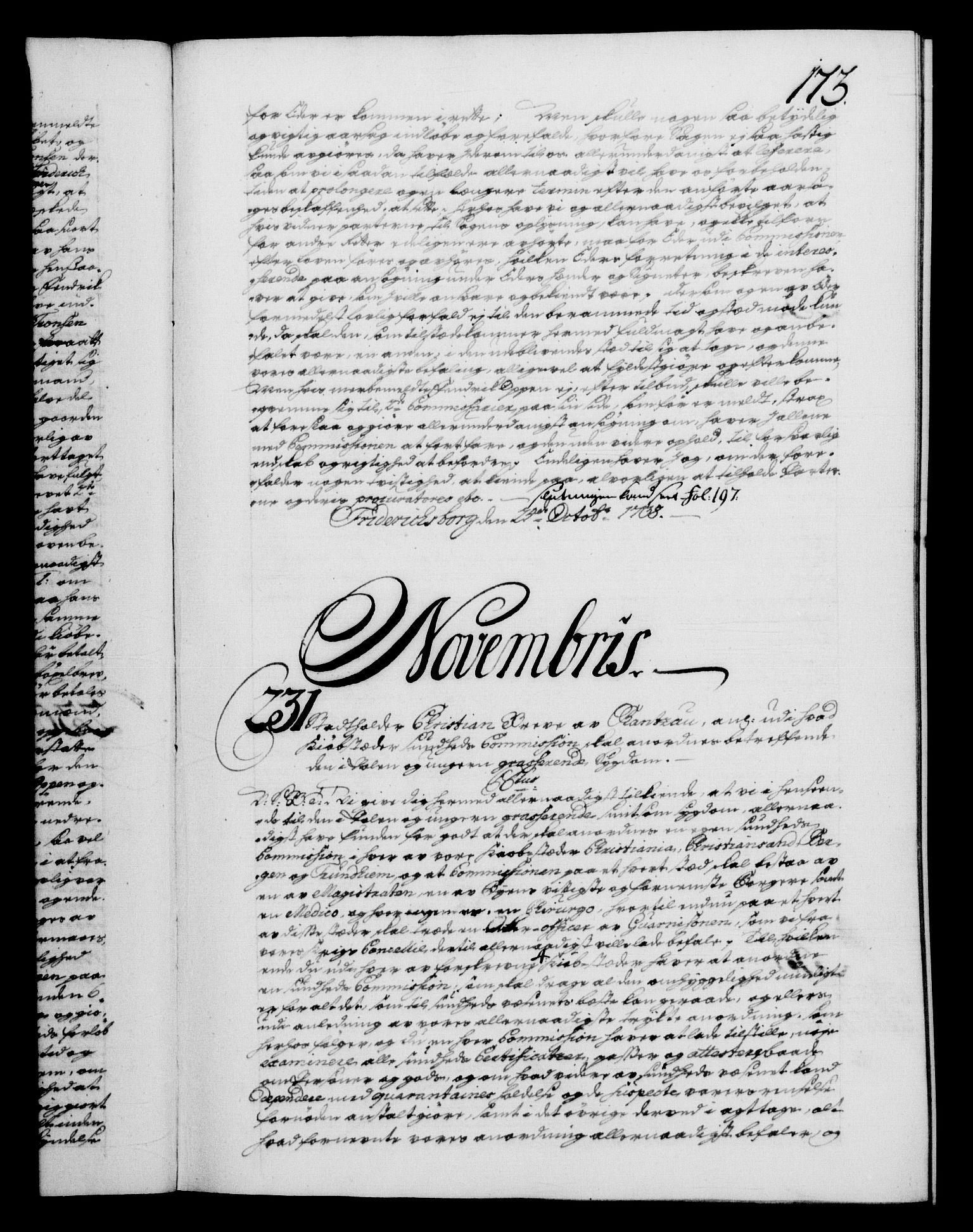 RA, Danske Kanselli 1572-1799, F/Fc/Fca/Fcab/L0028: Norske tegnelser, 1738-1740, s. 173a