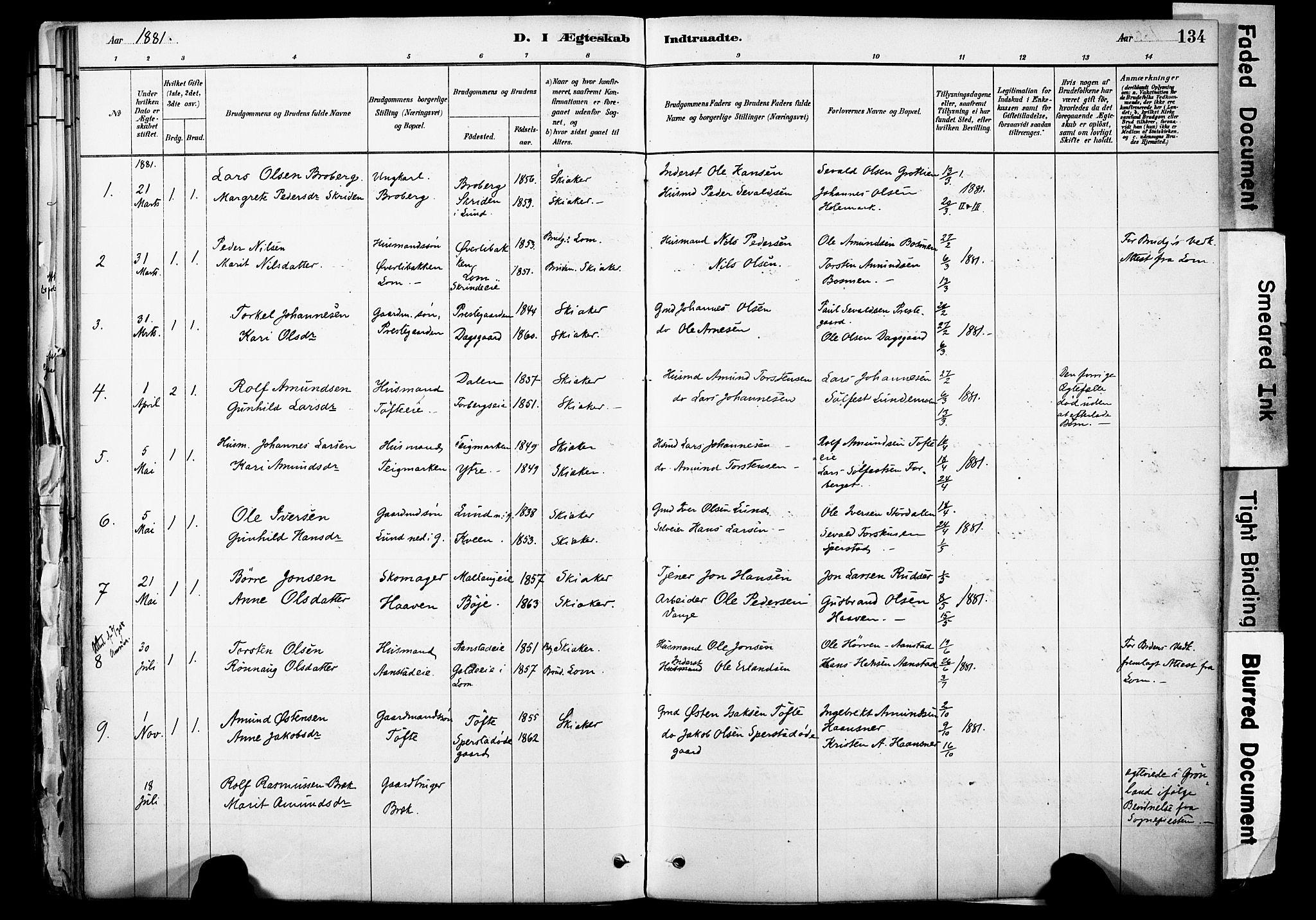 SAH, Skjåk prestekontor, Ministerialbok nr. 3, 1880-1907, s. 134