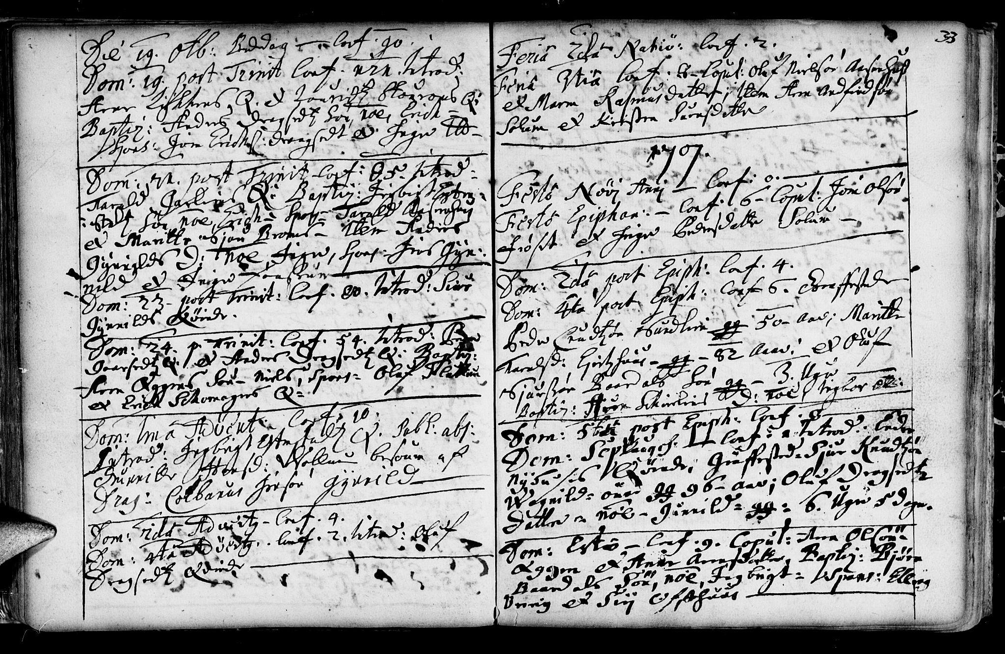 SAT, Ministerialprotokoller, klokkerbøker og fødselsregistre - Sør-Trøndelag, 689/L1036: Ministerialbok nr. 689A01, 1696-1746, s. 33