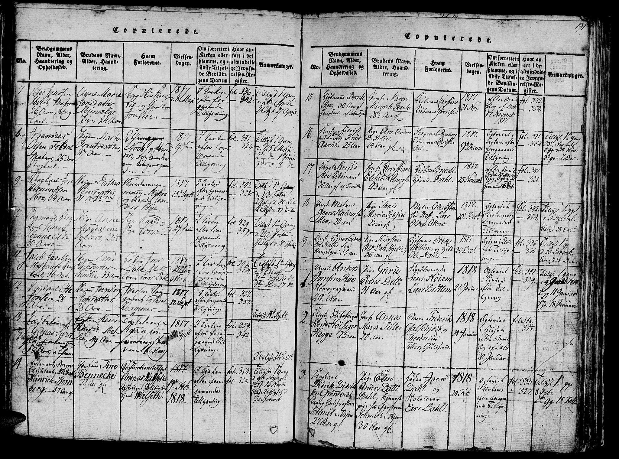 SAT, Ministerialprotokoller, klokkerbøker og fødselsregistre - Sør-Trøndelag, 602/L0135: Klokkerbok nr. 602C03, 1815-1832, s. 191