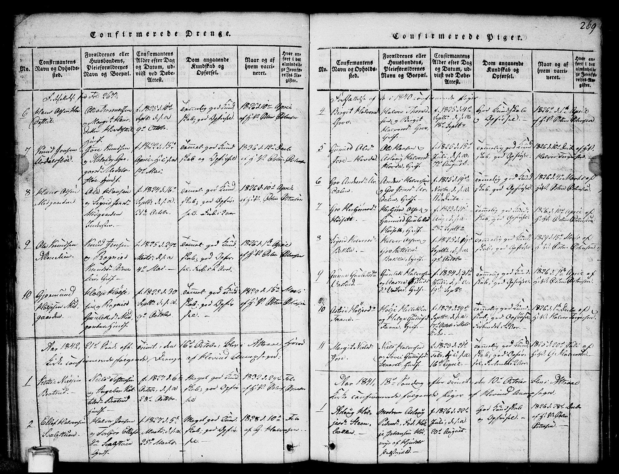 SAKO, Gransherad kirkebøker, G/Gb/L0001: Klokkerbok nr. II 1, 1815-1860, s. 269