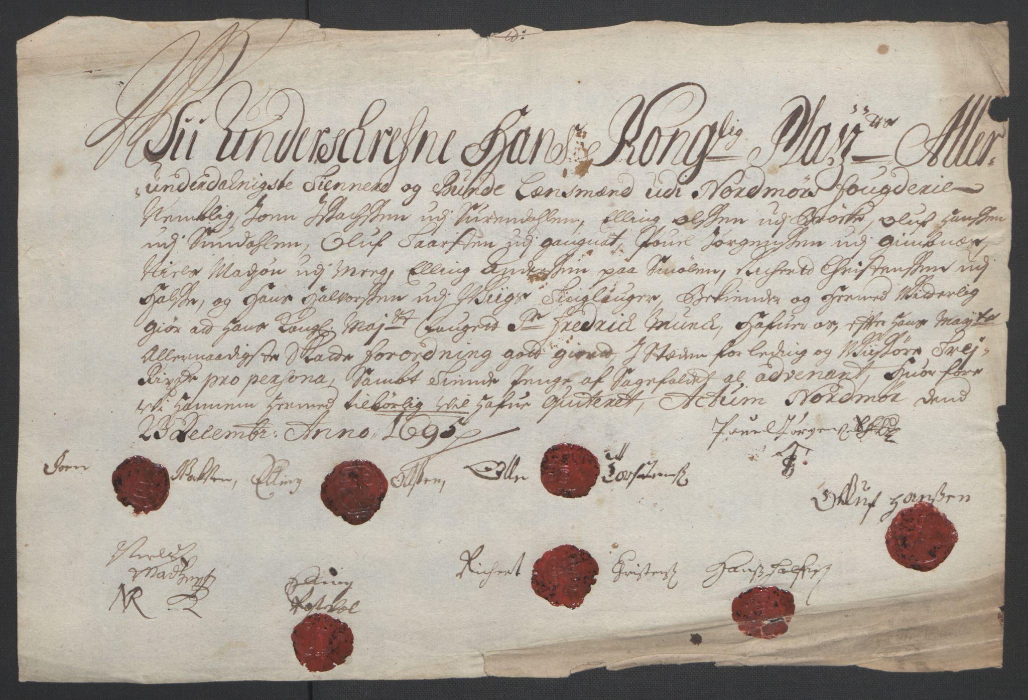 RA, Rentekammeret inntil 1814, Reviderte regnskaper, Fogderegnskap, R56/L3736: Fogderegnskap Nordmøre, 1694-1696, s. 300