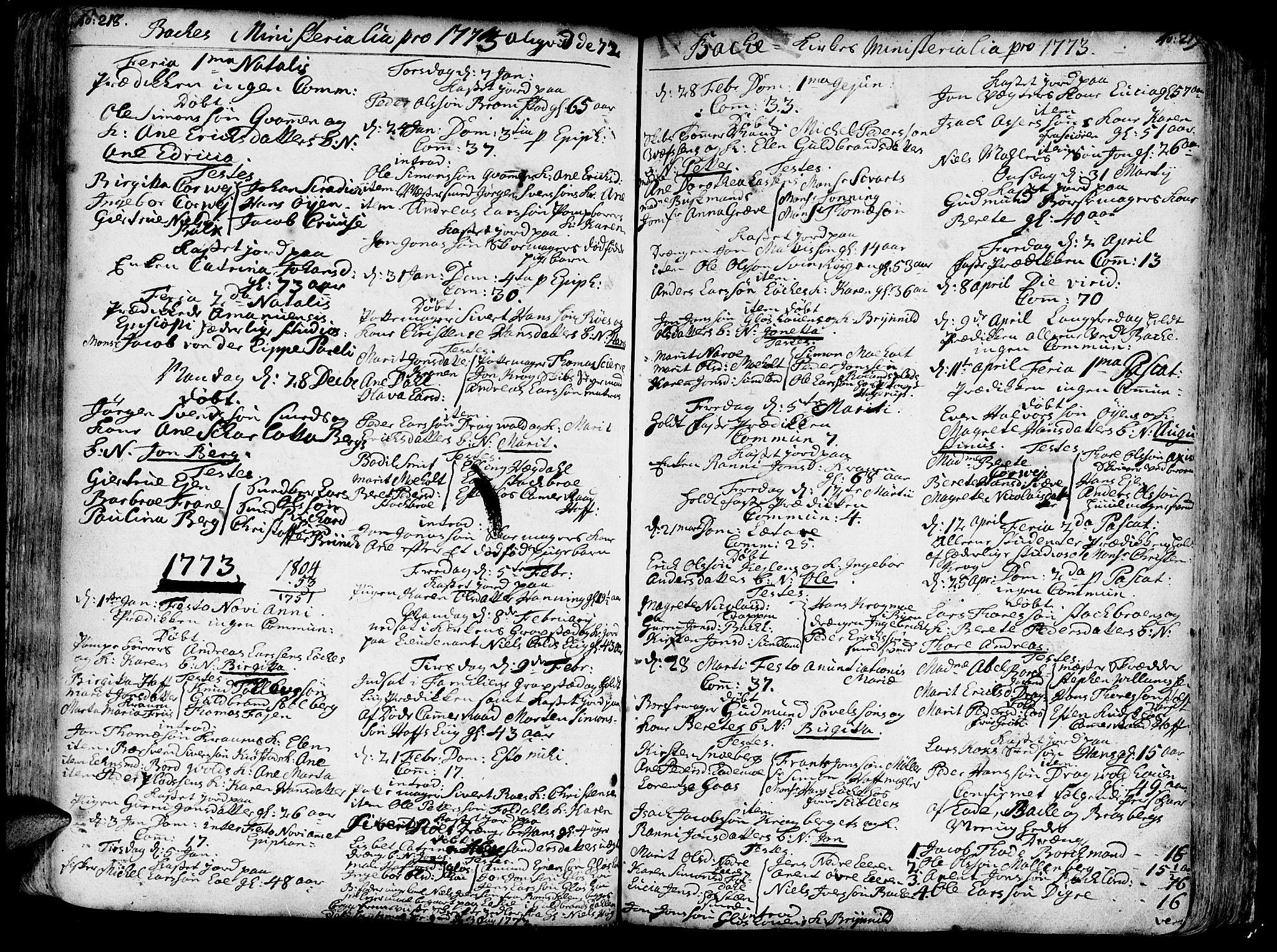 SAT, Ministerialprotokoller, klokkerbøker og fødselsregistre - Sør-Trøndelag, 606/L0276: Ministerialbok nr. 606A01 /2, 1727-1779, s. 218-219