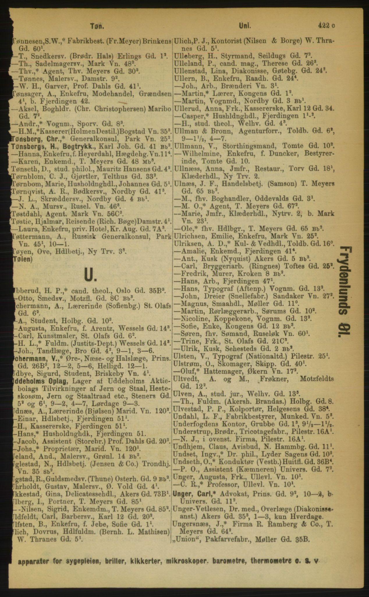 RA, Kristiania adressebok (publikasjon)*, 1889, s. 422c