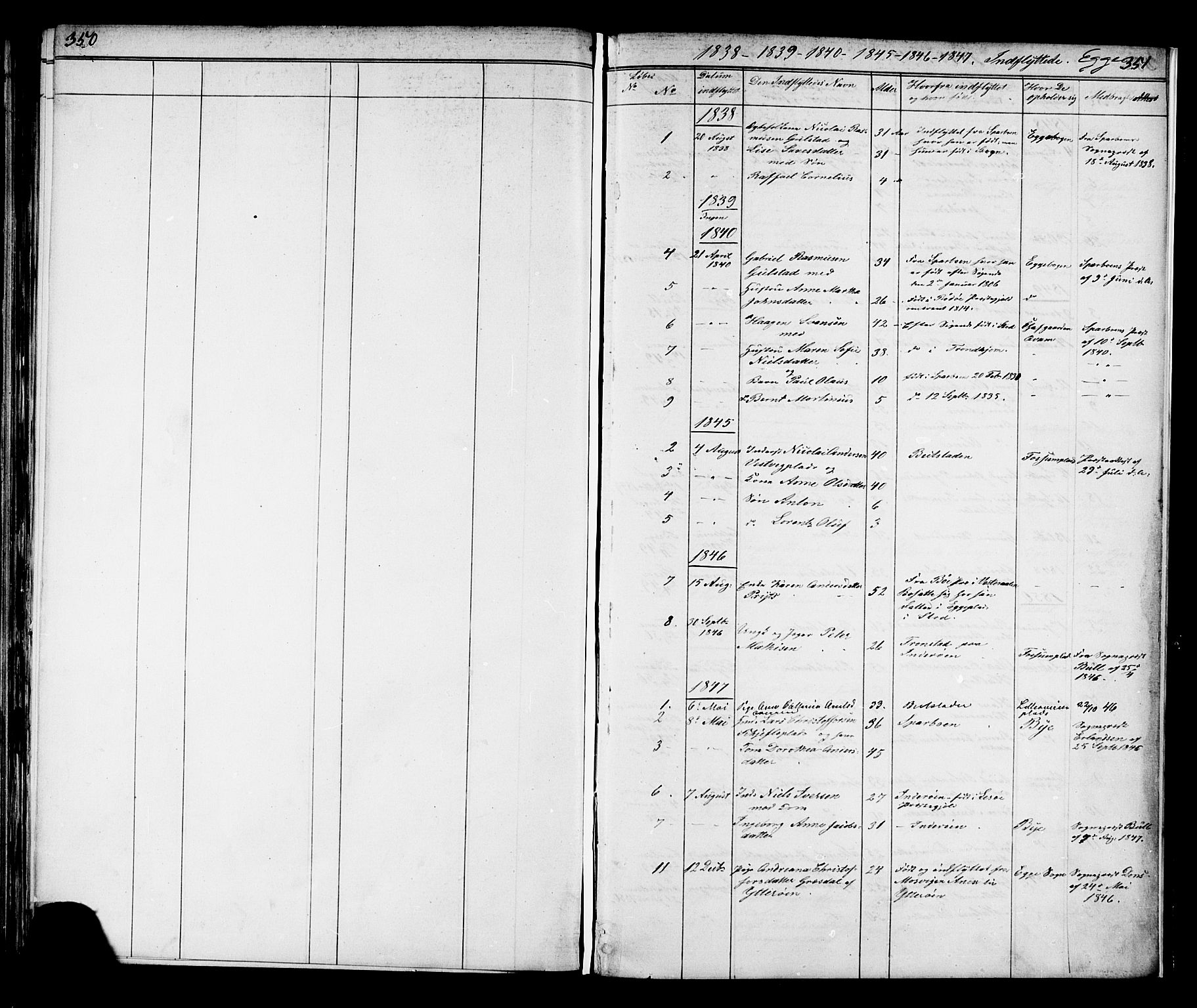 SAT, Ministerialprotokoller, klokkerbøker og fødselsregistre - Nord-Trøndelag, 739/L0367: Ministerialbok nr. 739A01 /3, 1838-1868, s. 350-351