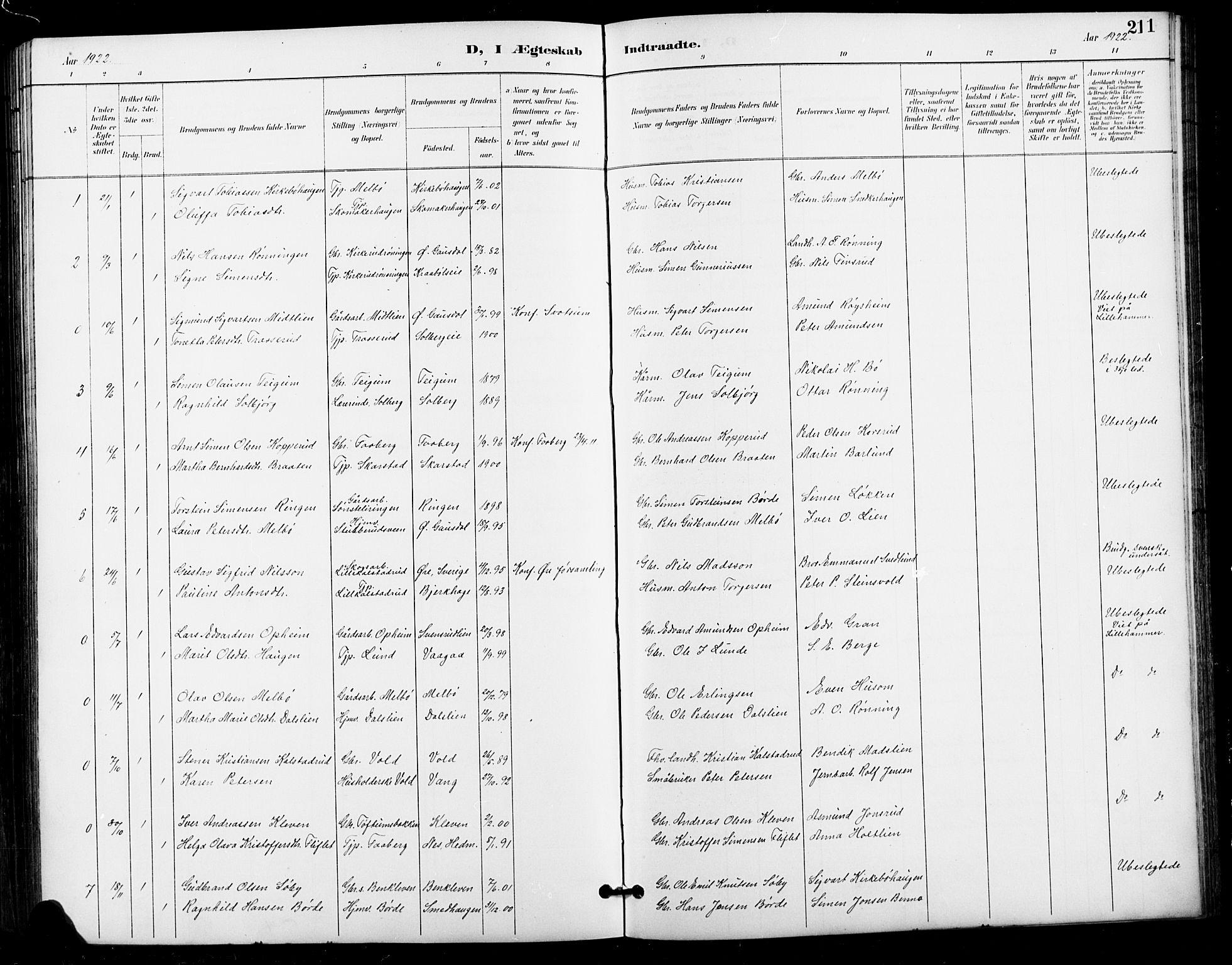 SAH, Vestre Gausdal prestekontor, Klokkerbok nr. 3, 1896-1925, s. 211