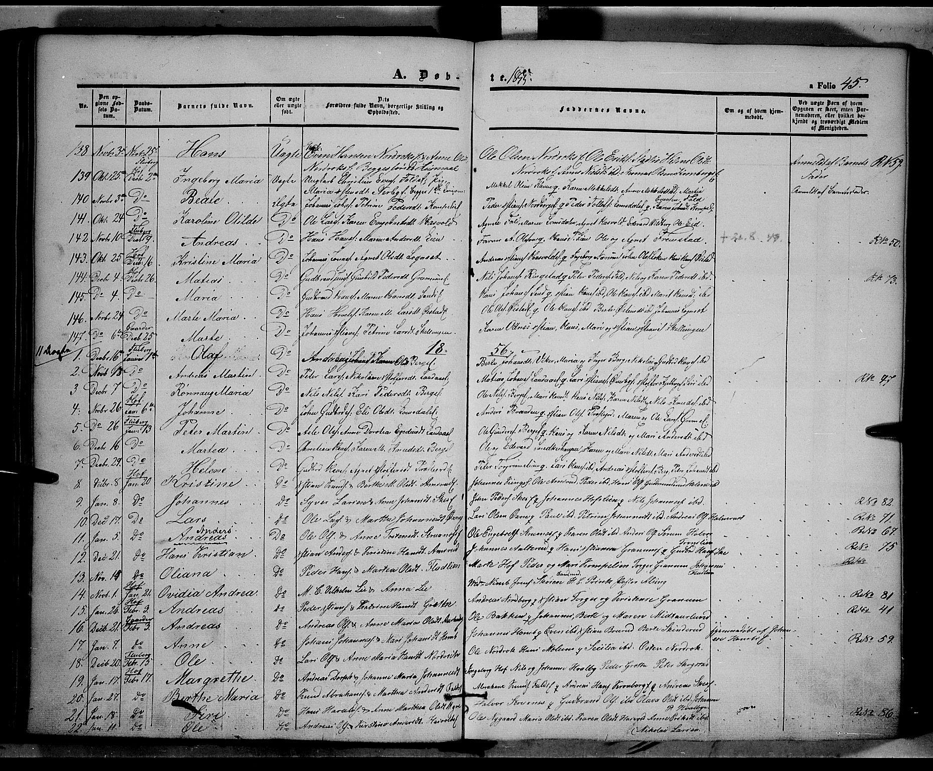 SAH, Land prestekontor, Ministerialbok nr. 9, 1847-1859, s. 45