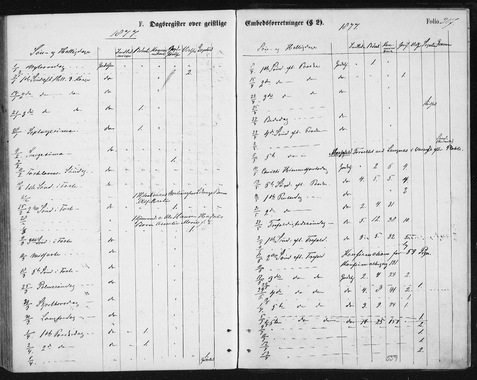 SAT, Ministerialprotokoller, klokkerbøker og fødselsregistre - Nordland, 888/L1243: Ministerialbok nr. 888A09, 1876-1879, s. 207