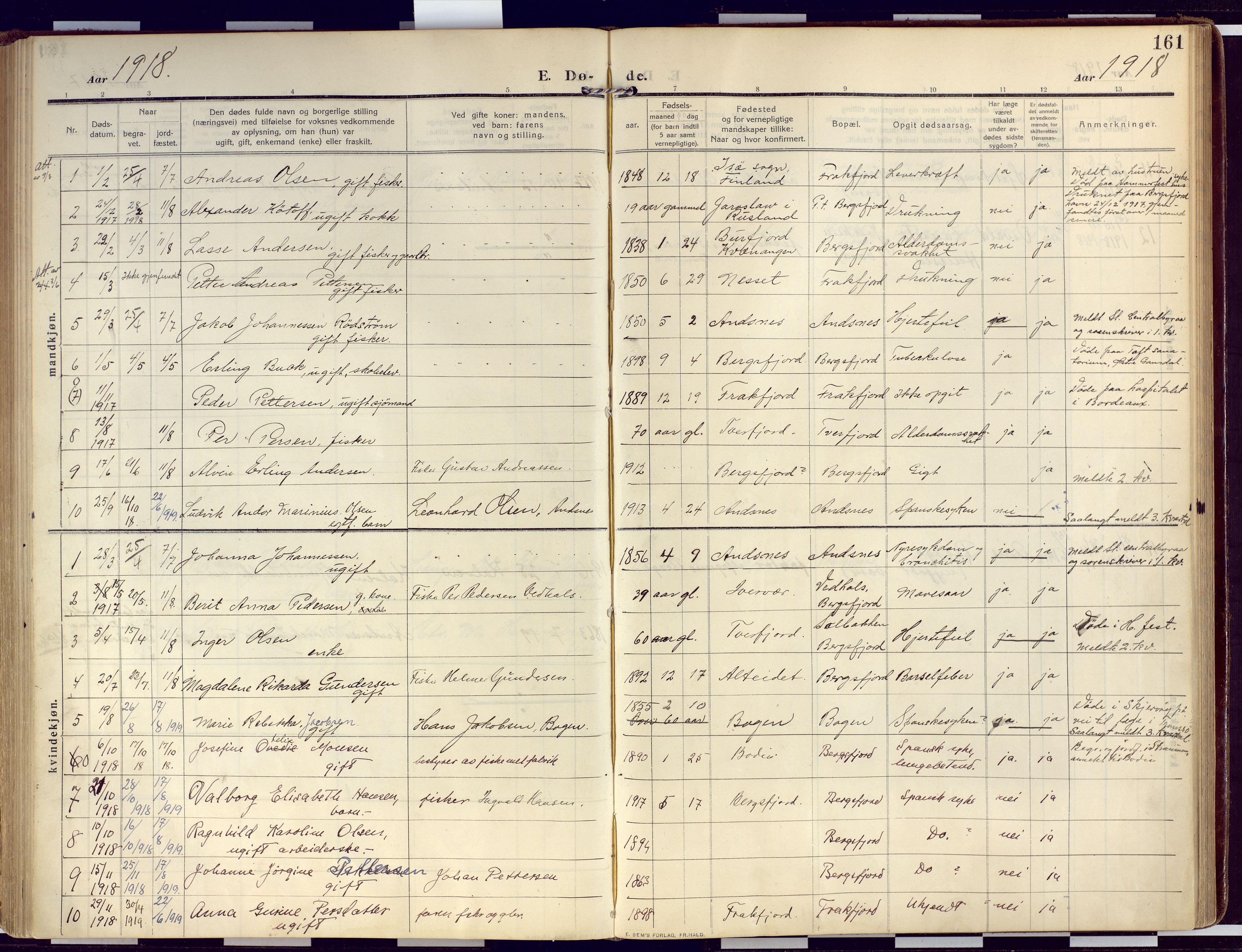 SATØ, Loppa sokneprestkontor, H/Ha/L0011kirke: Ministerialbok nr. 11, 1909-1919, s. 161
