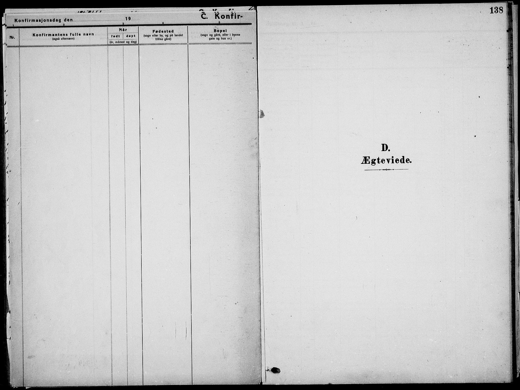 SAKO, Sauherad kirkebøker, G/Ga/L0004a: Klokkerbok nr. I 4, 1906-1934, s. 138