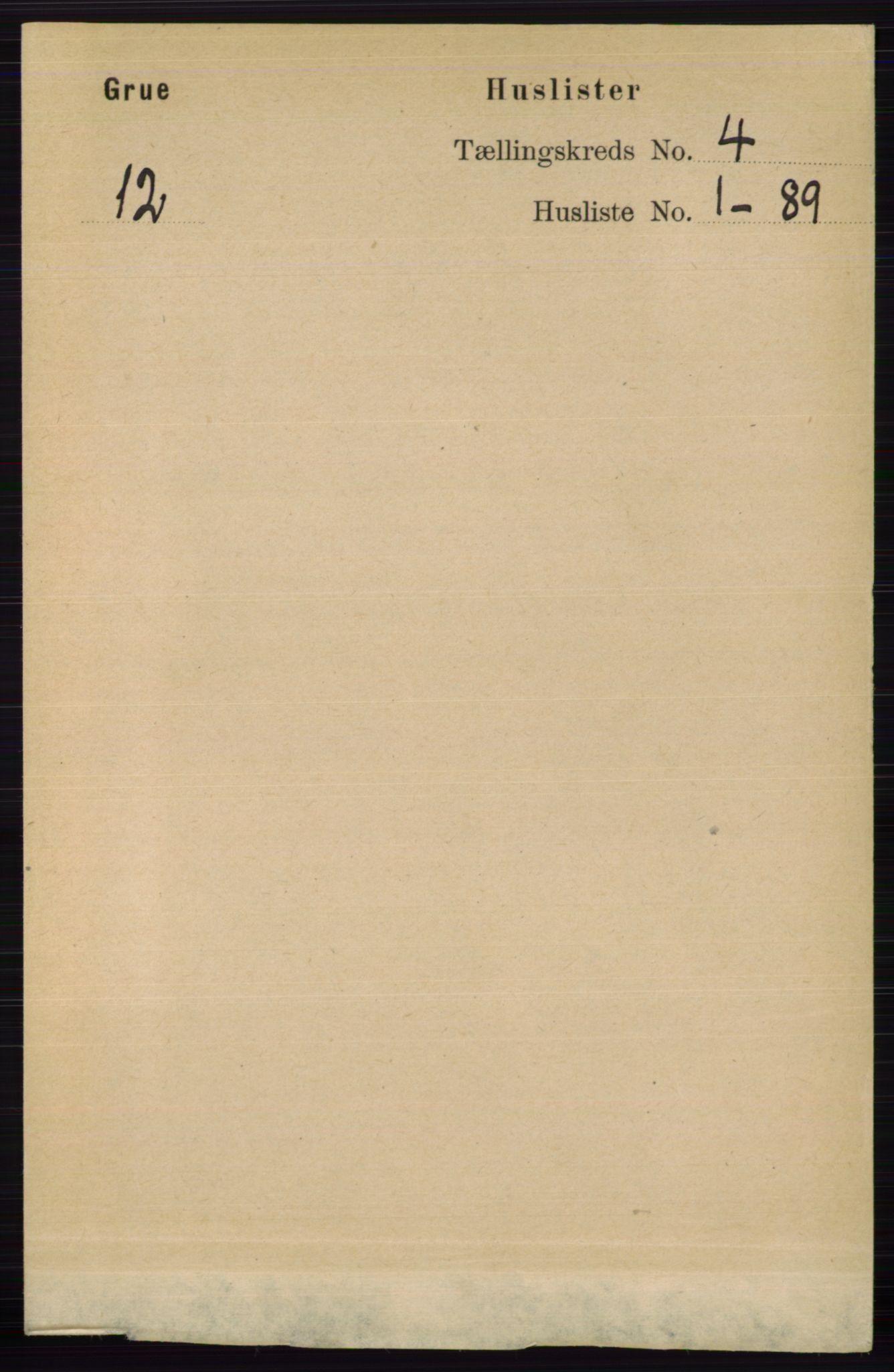 RA, Folketelling 1891 for 0423 Grue herred, 1891, s. 2012