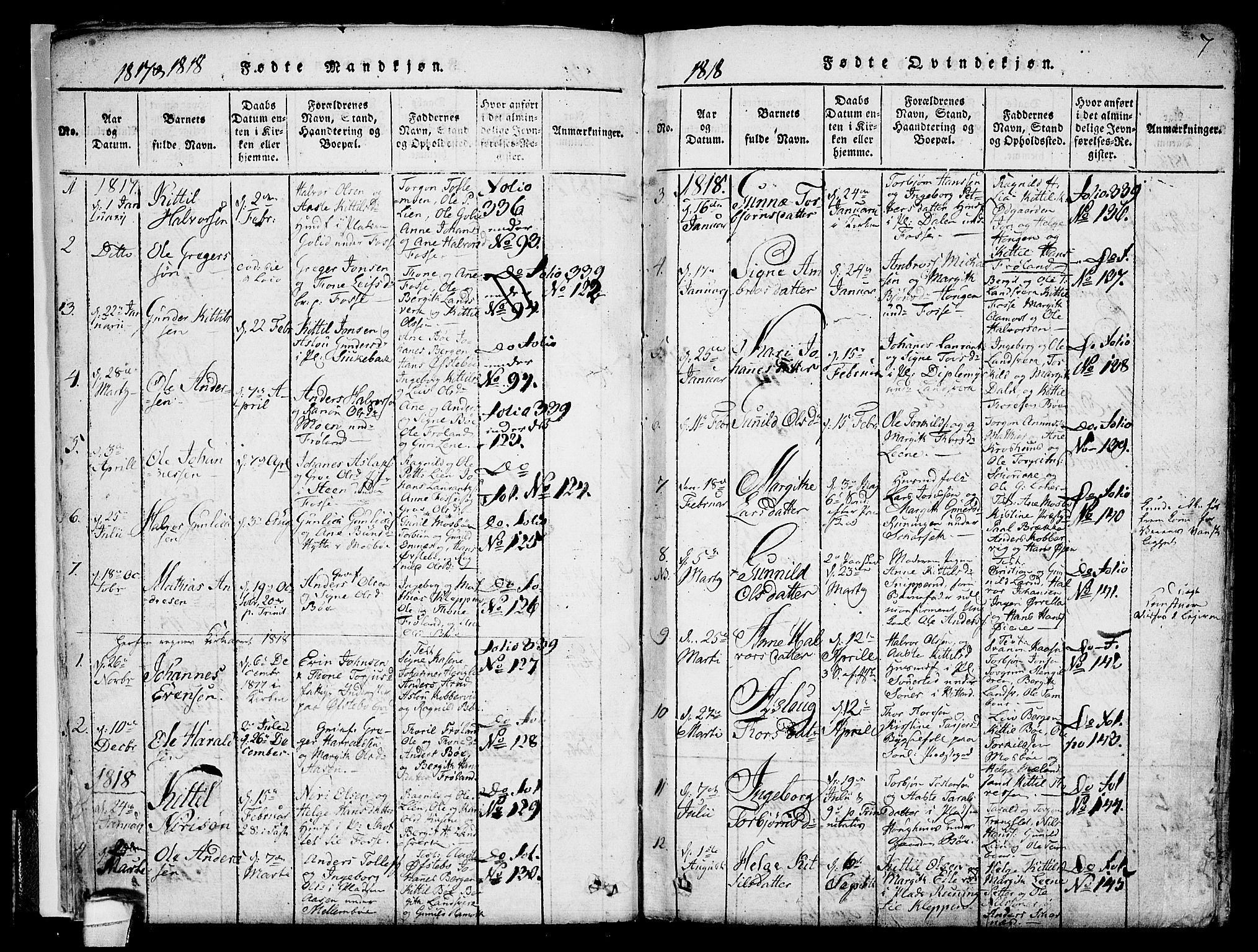 SAKO, Hjartdal kirkebøker, F/Fb/L0001: Ministerialbok nr. II 1, 1815-1843, s. 7