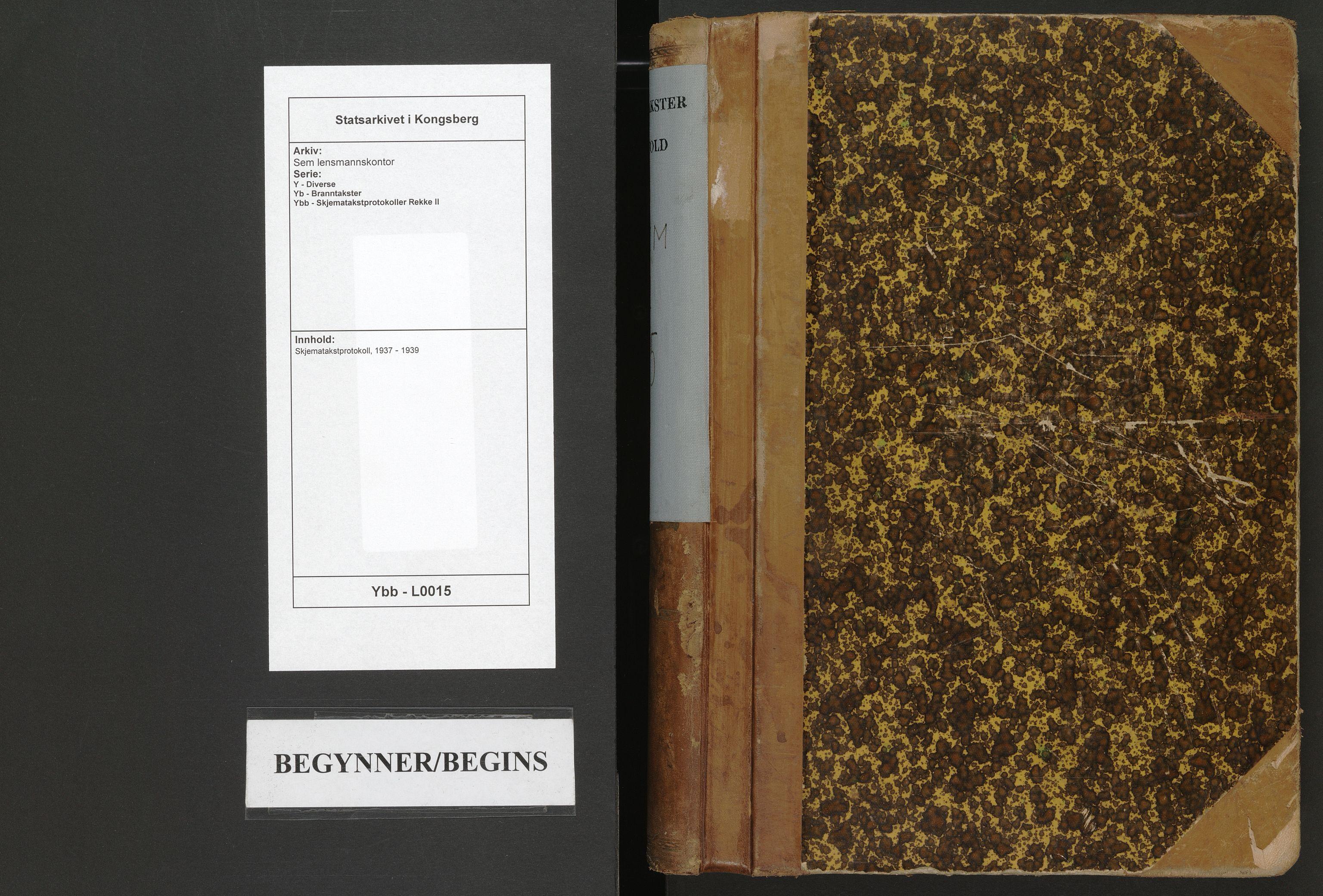 SAKO, Sem lensmannskontor, Y/Yb/Ybb/L0015: Skjematakstprotokoll, 1937-1939