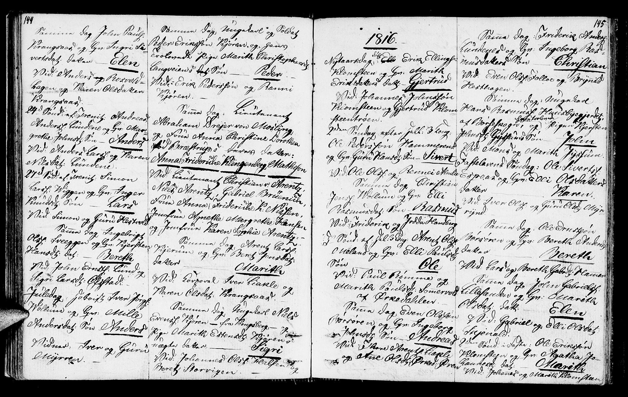 SAT, Ministerialprotokoller, klokkerbøker og fødselsregistre - Sør-Trøndelag, 665/L0769: Ministerialbok nr. 665A04, 1803-1816, s. 144-145